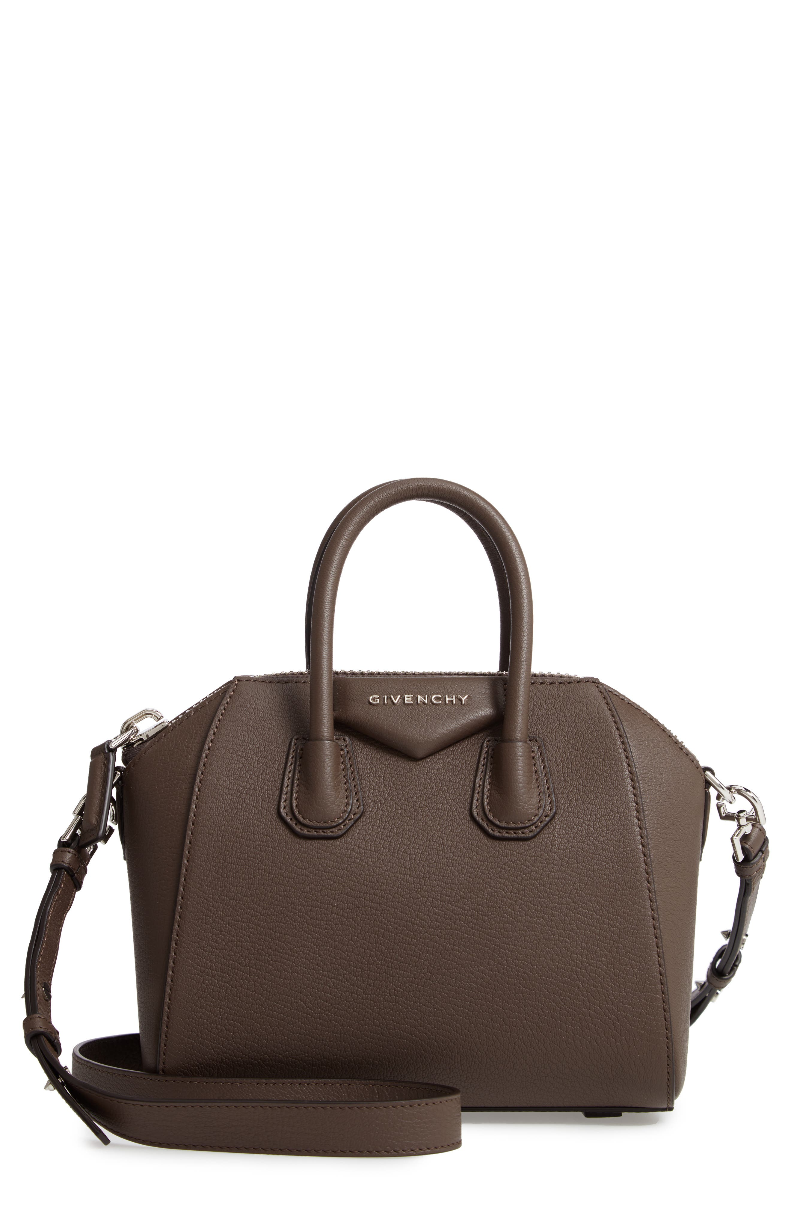 'Mini Antigona' Sugar Leather Satchel,                             Main thumbnail 1, color,                             HEATHER GREY