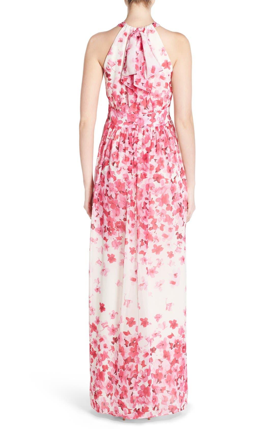 Print Pleated Chiffon Maxi Dress,                             Alternate thumbnail 3, color,                             660