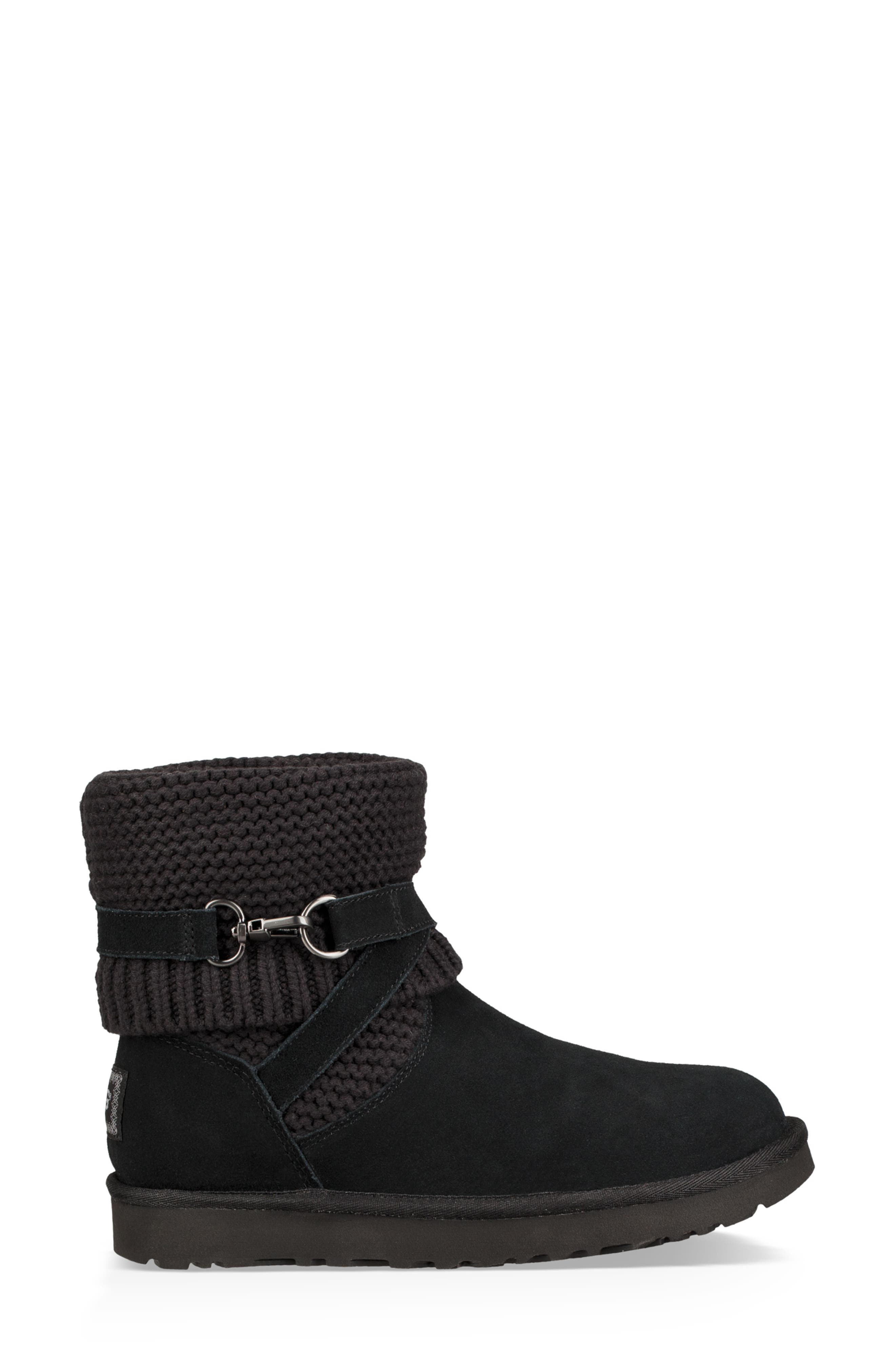 UGGpure<sup>™</sup> Strappy Purl Knit Bootie,                             Alternate thumbnail 8, color,                             BLACK SUEDE