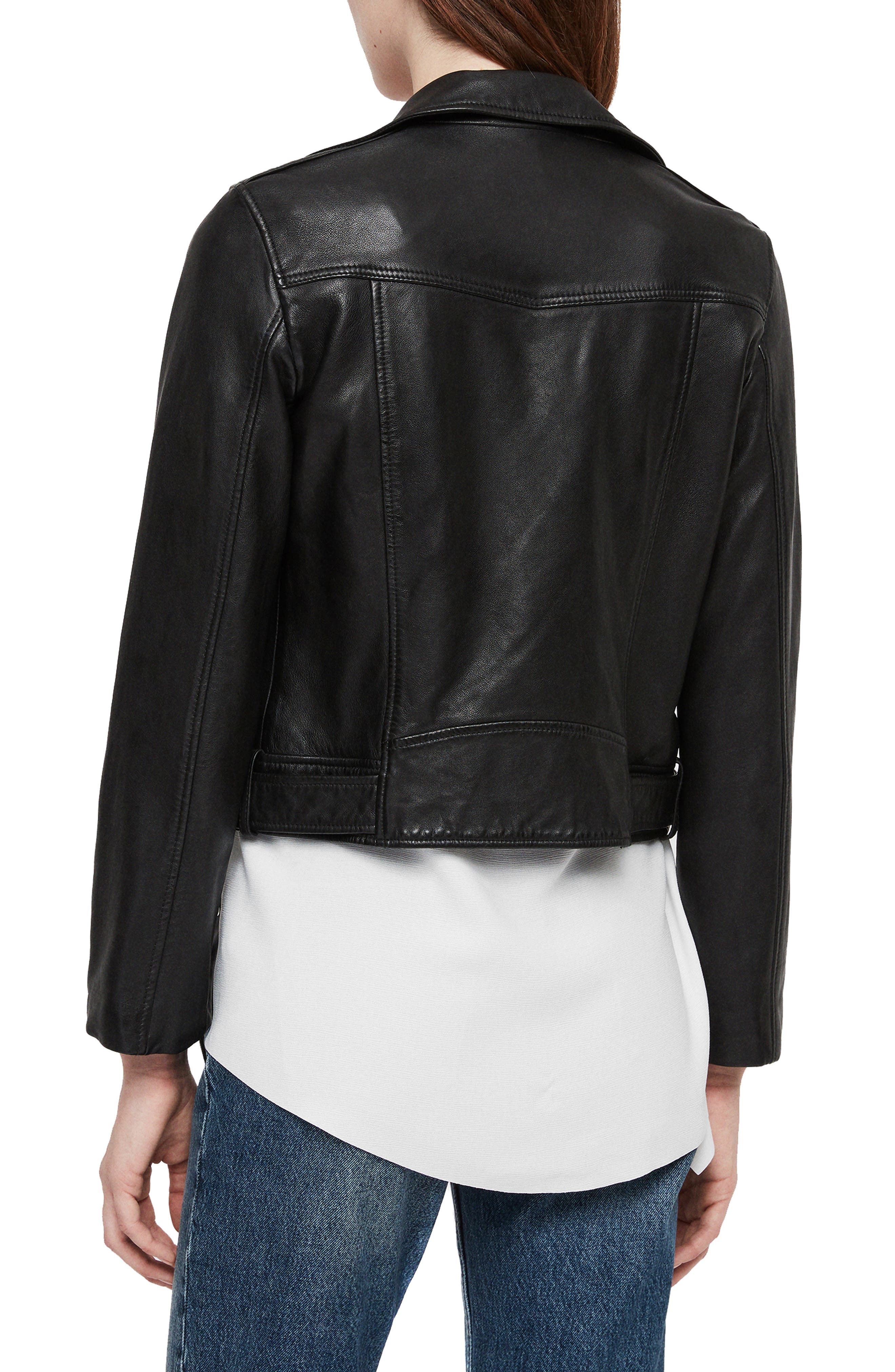 Juno Leather Biker Jacket,                             Alternate thumbnail 2, color,                             BLACK