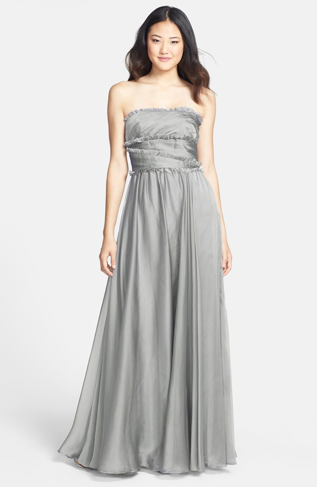 ML Monique Lhuillier Bridesmaids Strapless Chiffon Gown,                             Main thumbnail 3, color,