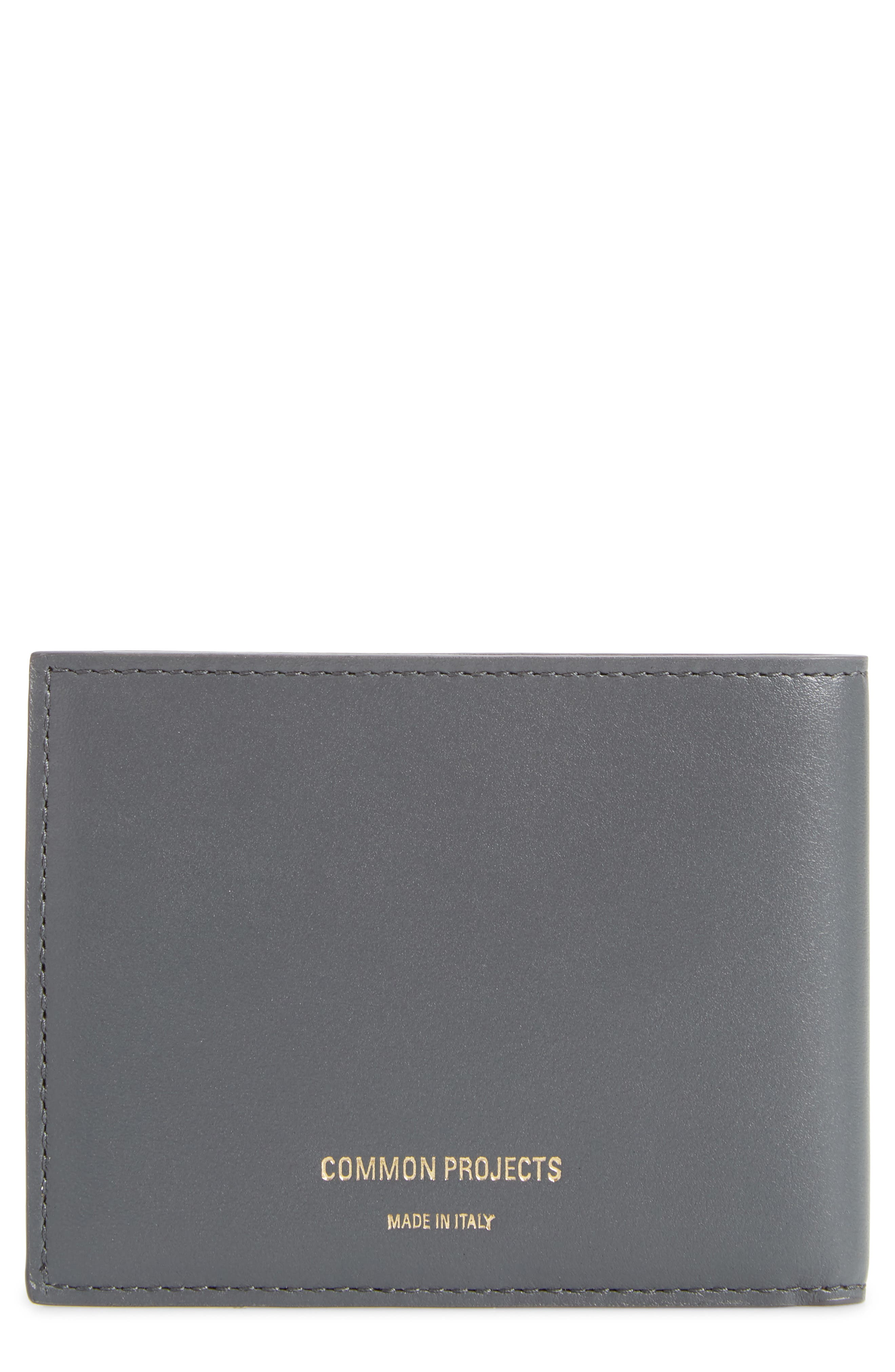 Leather Wallet,                             Main thumbnail 1, color,                             BLUE/ GREY