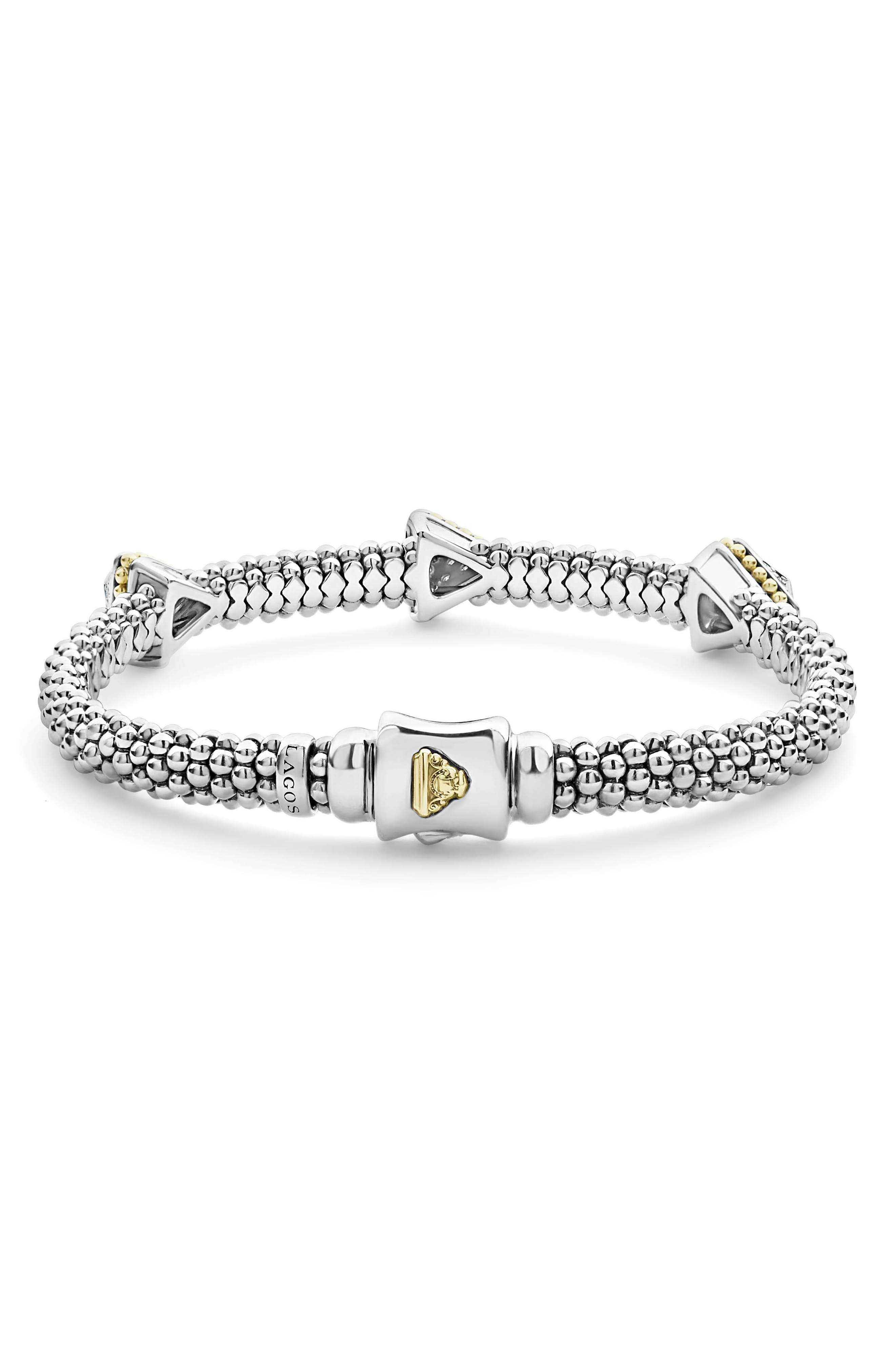 KSL Lux Diamond Pyramid Bracelet,                             Alternate thumbnail 3, color,                             SILVER/ DIAMOND