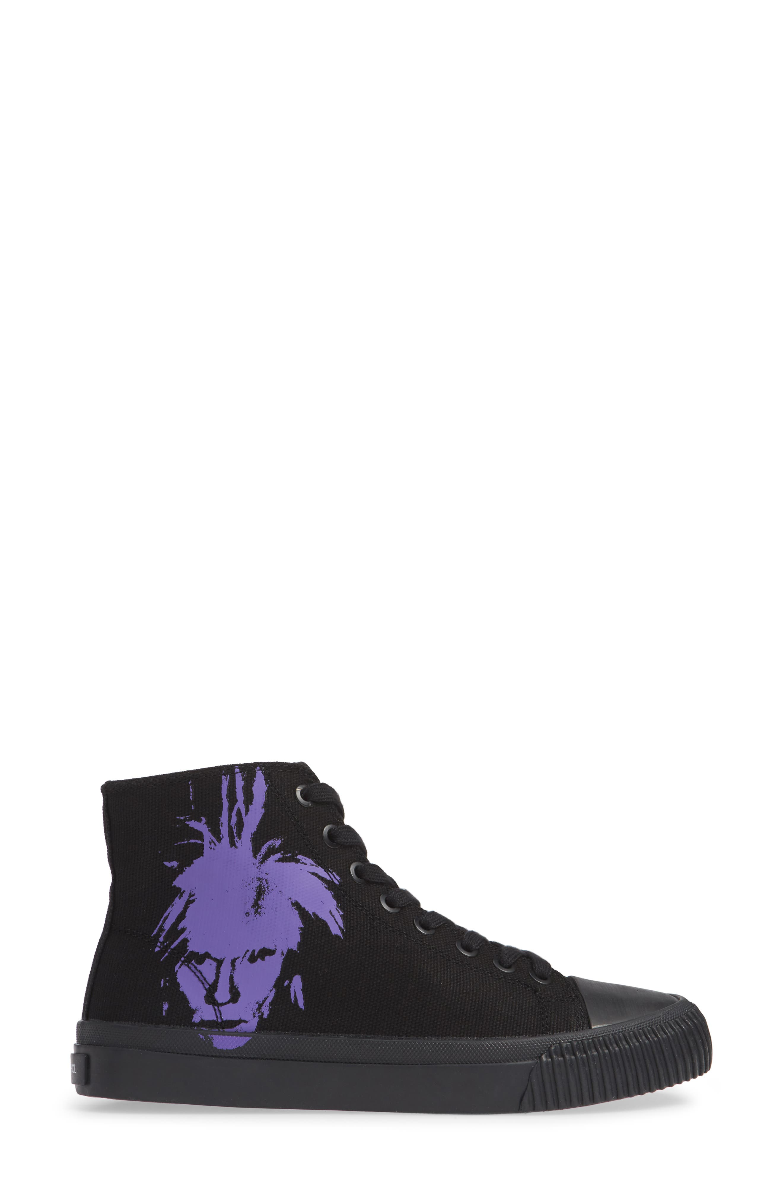 Iconica High Top Sneaker,                             Alternate thumbnail 3, color,                             BLACK/ PURPLE