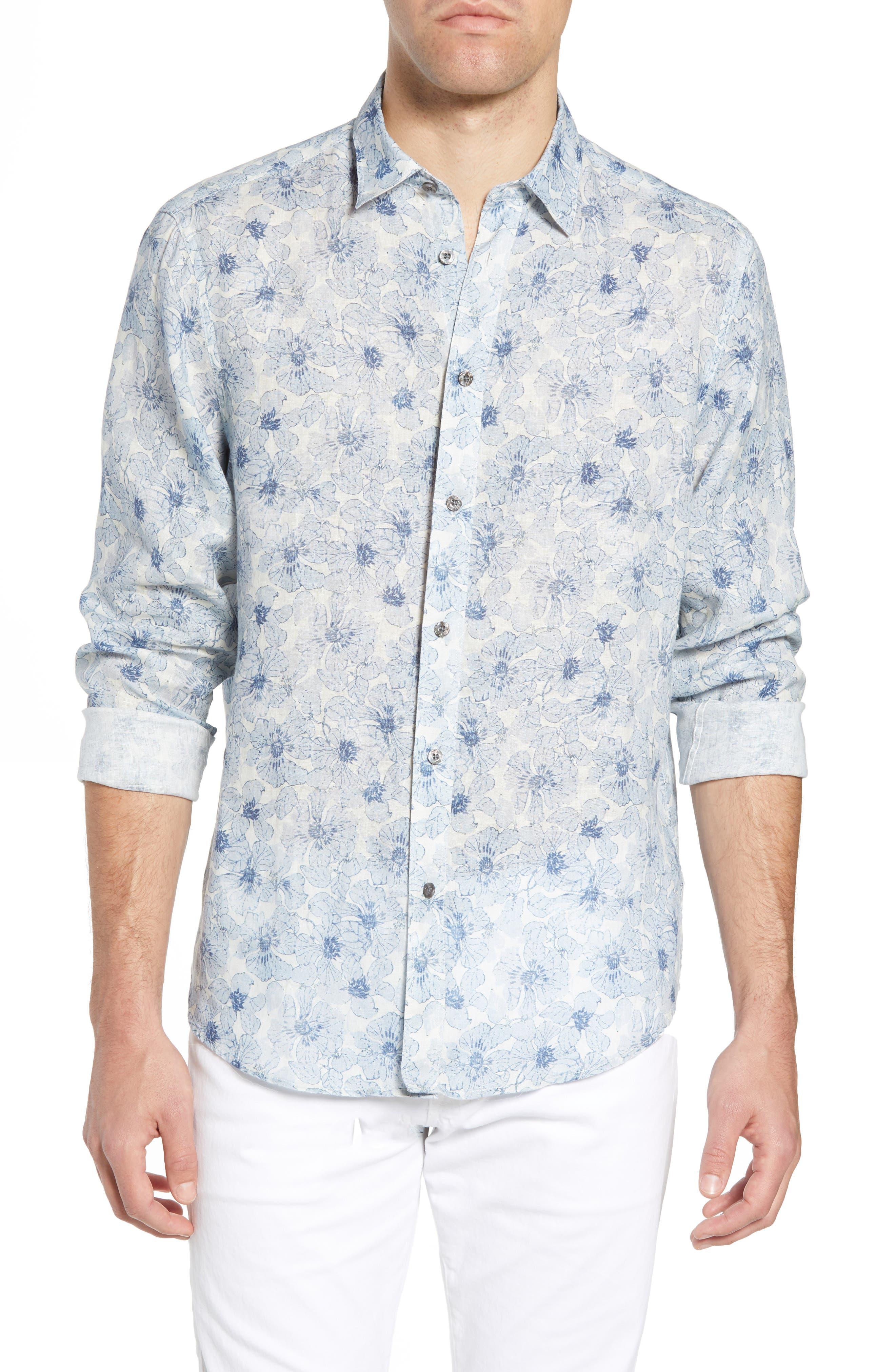 Tavton Regular Fit Floral Linen Sport Shirt,                         Main,                         color, SKY