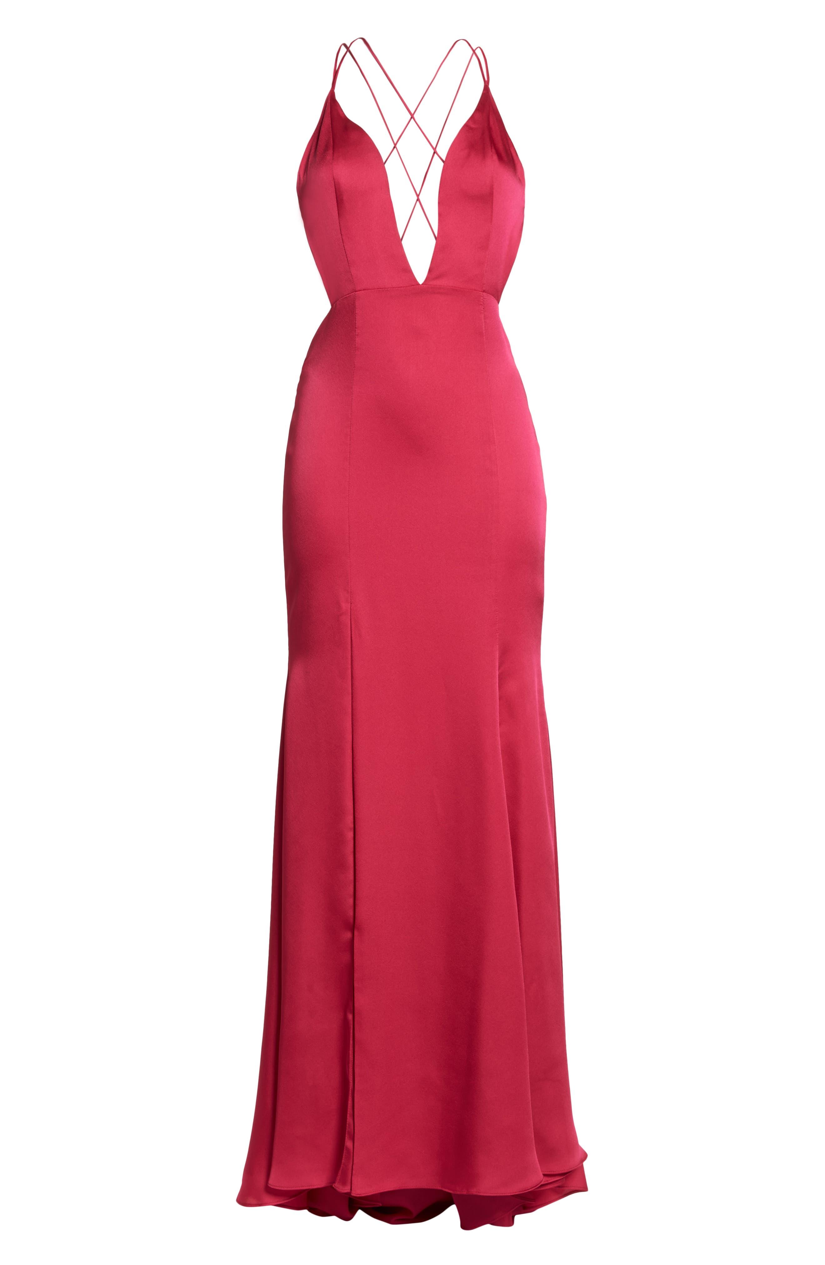The Thora Satin Gown,                             Alternate thumbnail 7, color,                             FUCHSIA