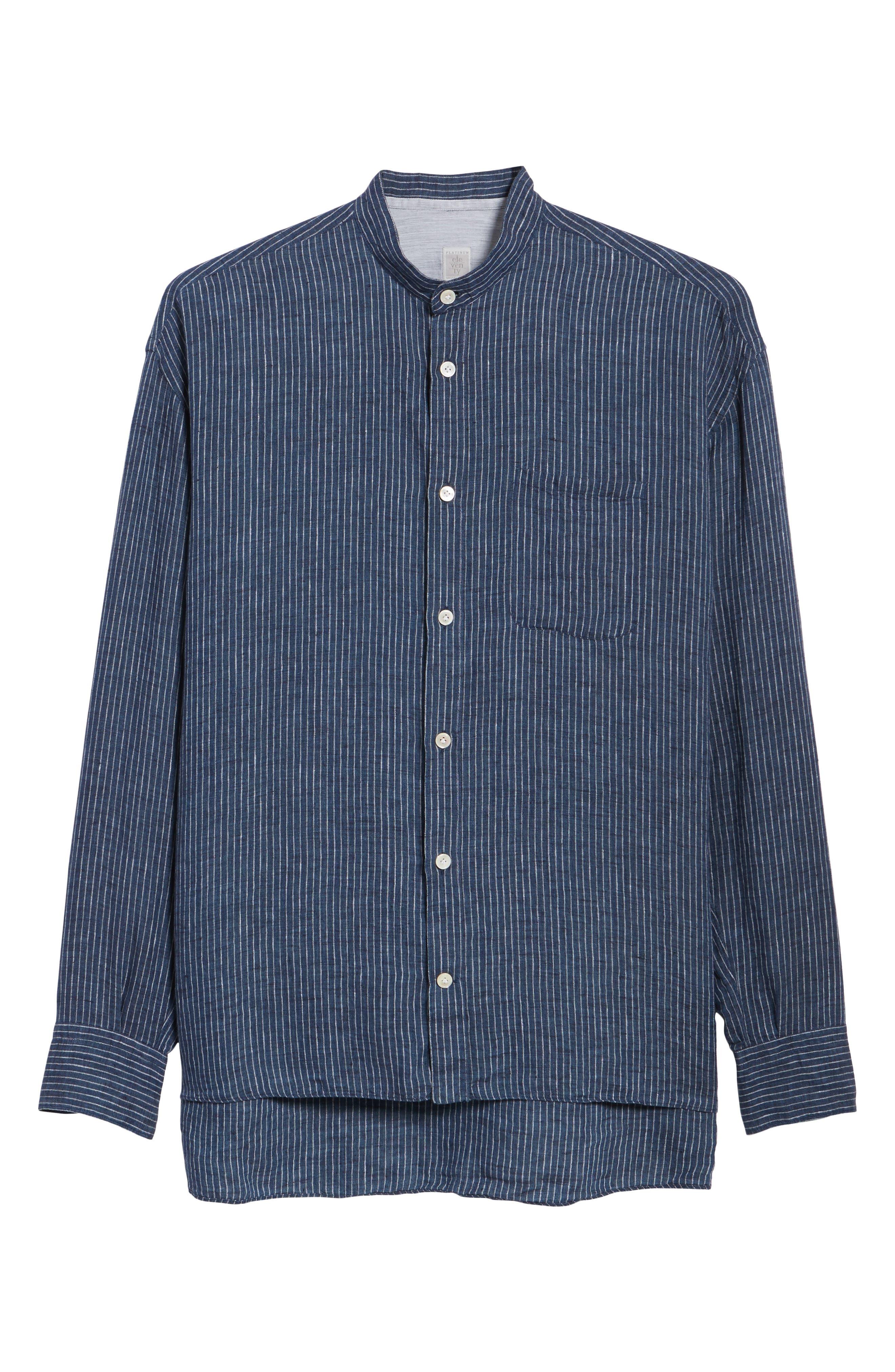 Railroad Stripe Linen Sport Shirt,                             Alternate thumbnail 6, color,                             410