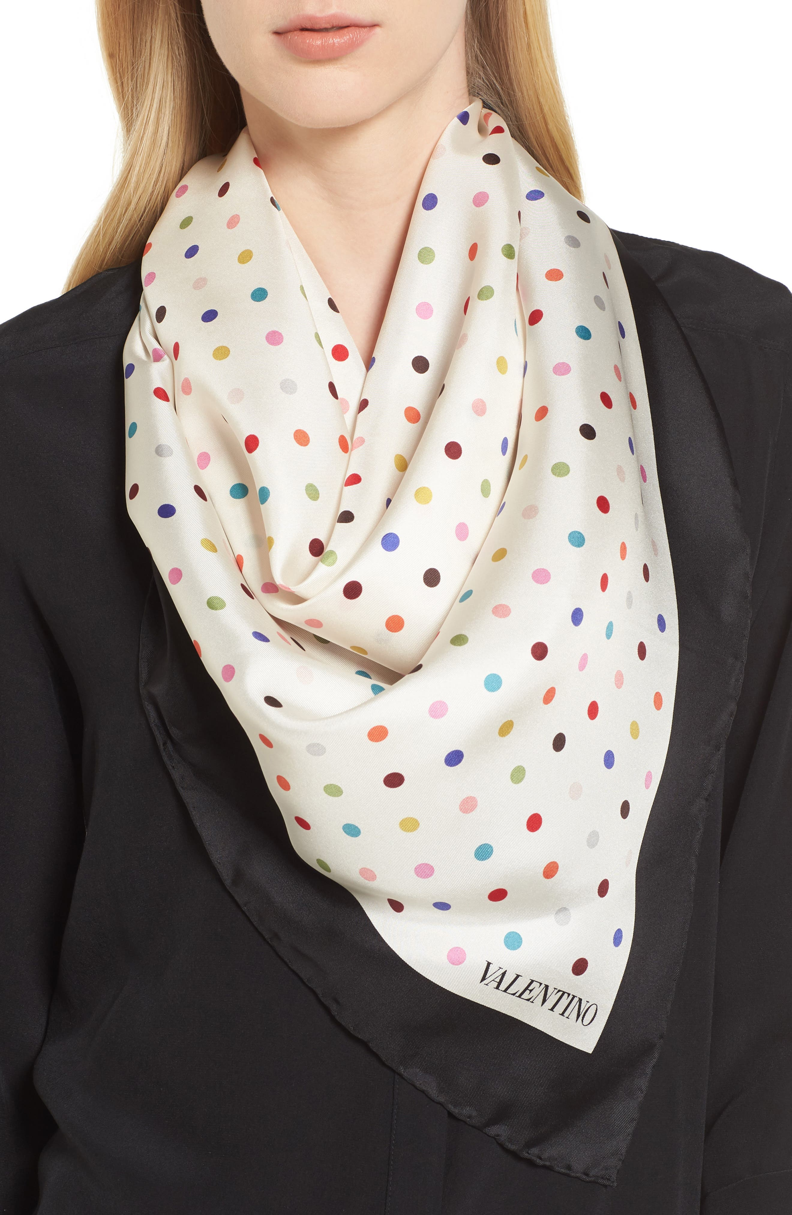 Rainbow Dots Silk Scarf,                             Alternate thumbnail 3, color,
