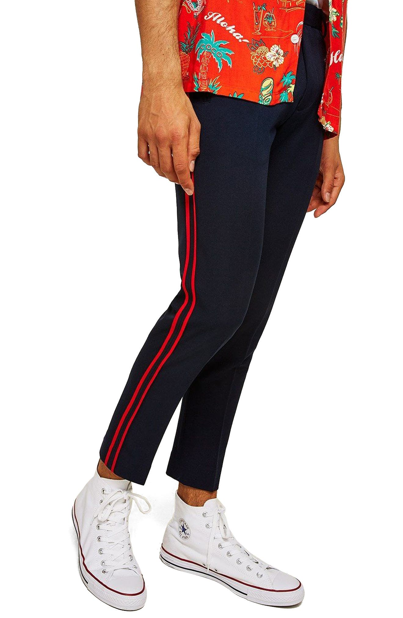 Side Stripe Skinny Fit Trousers,                             Main thumbnail 1, color,                             NAVY BLUE