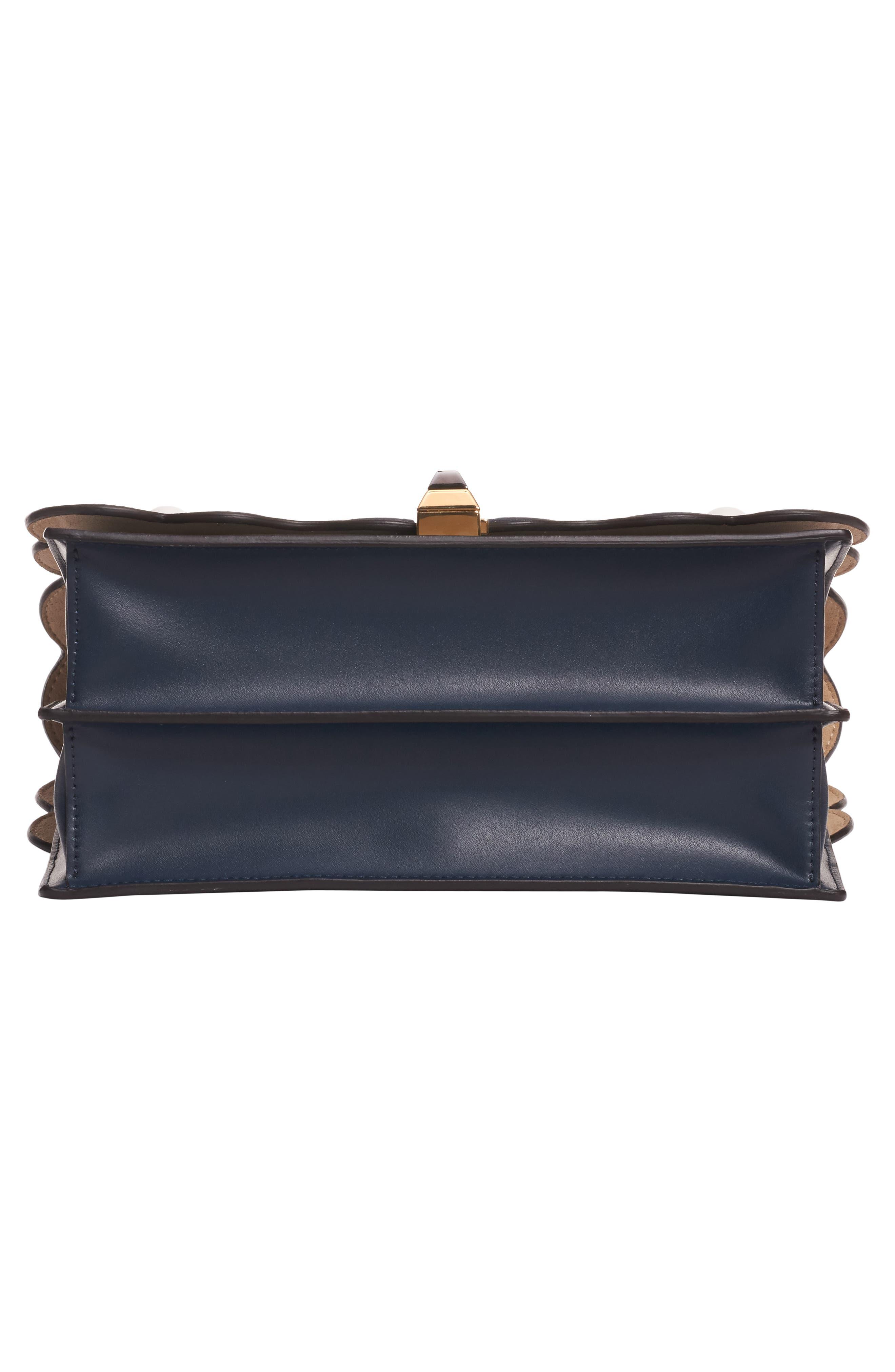 FENDI,                             Kan I Liberty Flower Leather Shoulder Bag,                             Alternate thumbnail 6, color,                             NOTTURNO