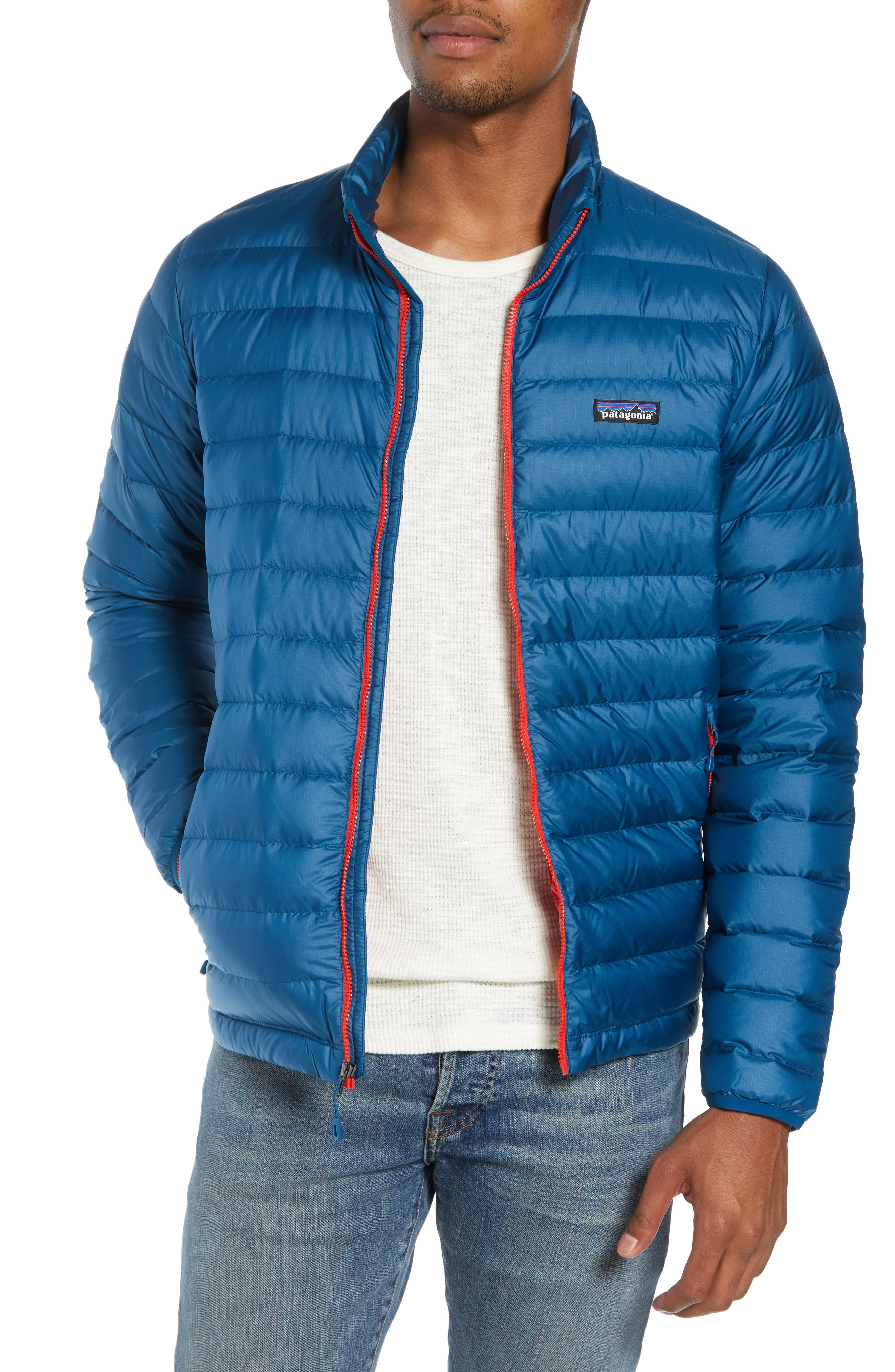 PATAGONIA Water Repellent Down Jacket, Main, color, BIG SUR BLUE W/ FIRE RED