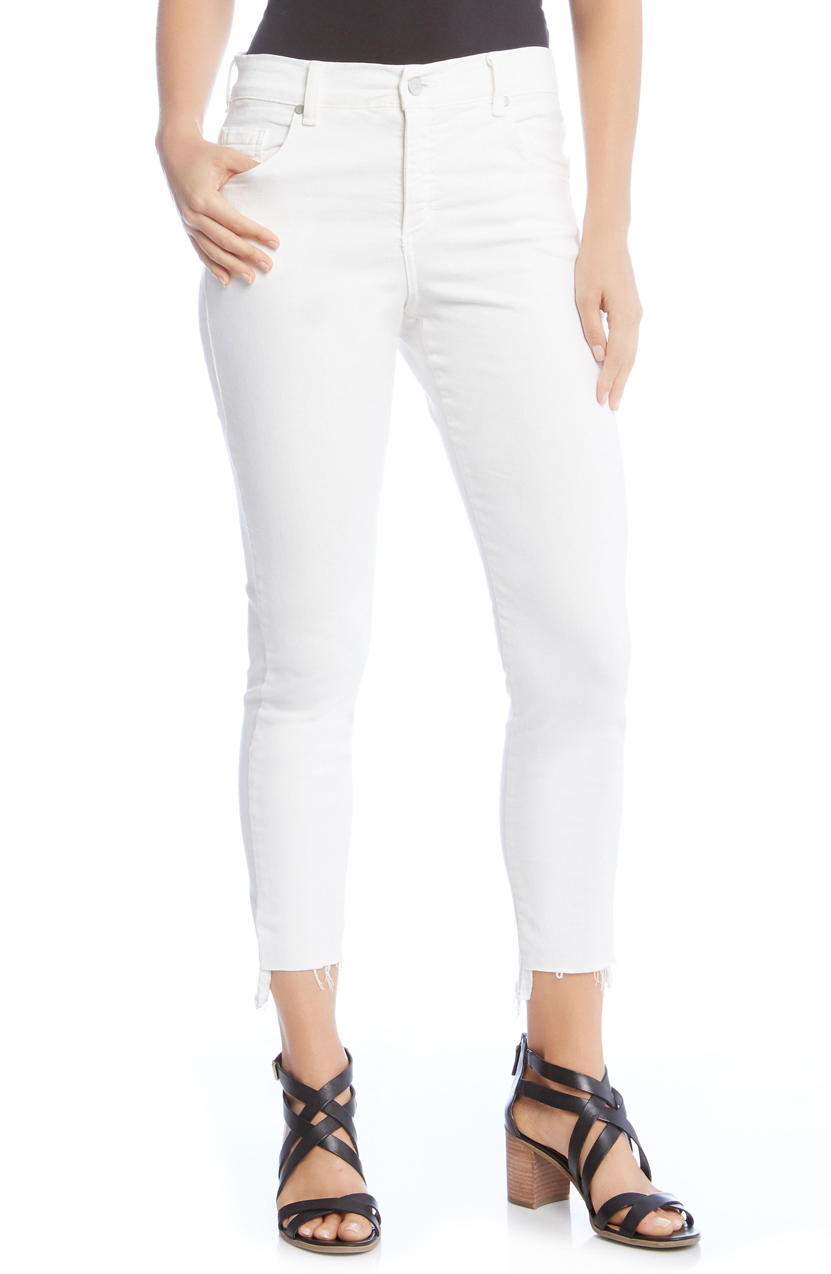 Zuma Step Hem Skinny Jeans,                             Main thumbnail 1, color,                             WHITE