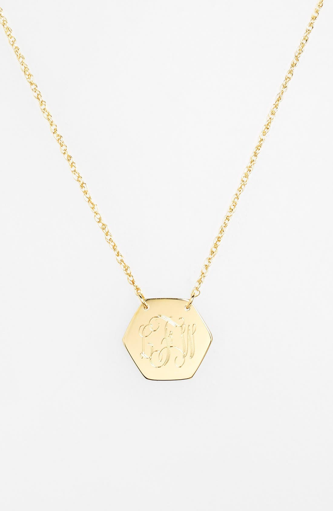 Personalized Hexagon Pendant Necklace,                             Alternate thumbnail 6, color,                             GOLD