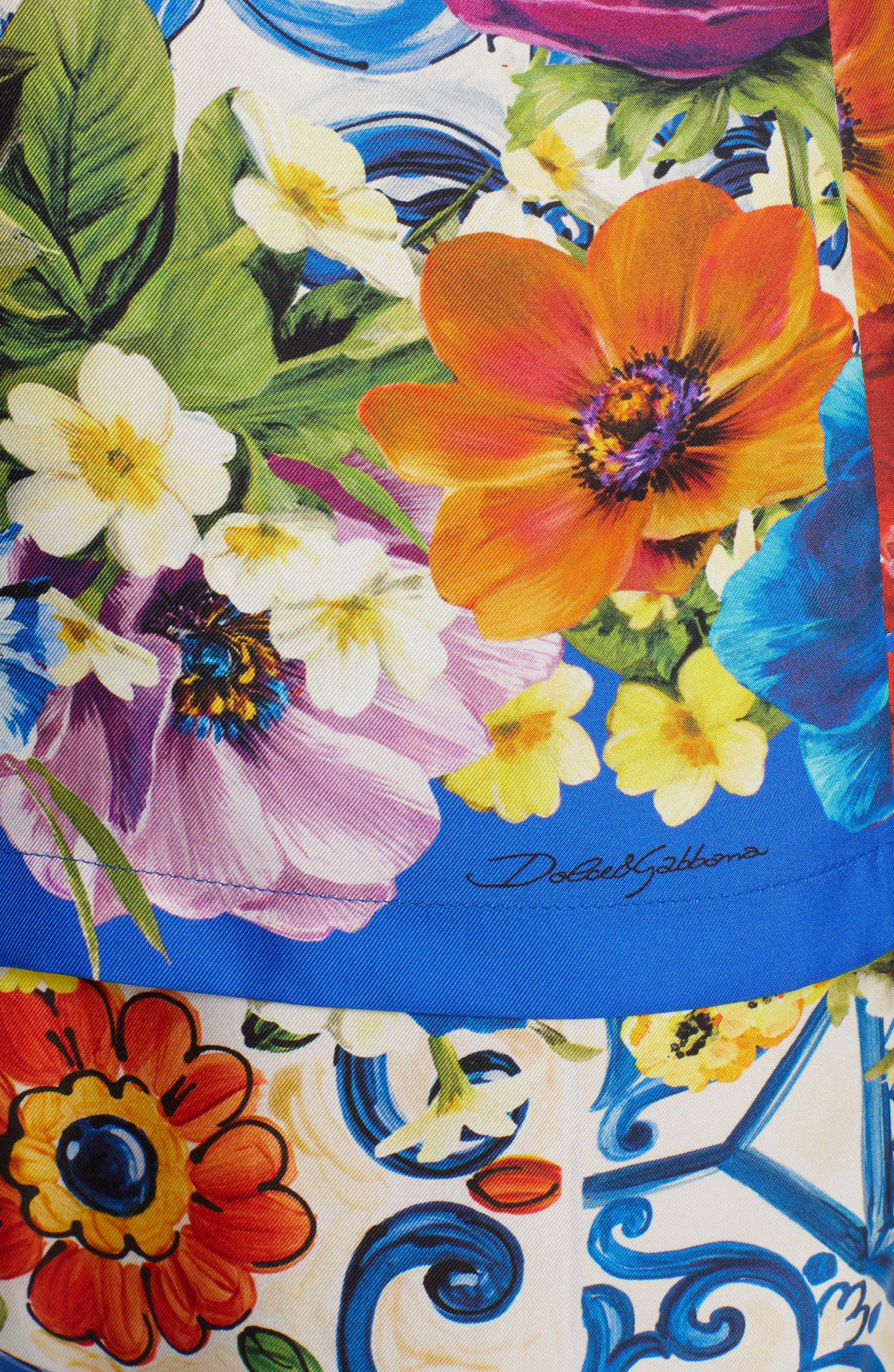 Tile Print Silk Top,                             Alternate thumbnail 5, color,                             430