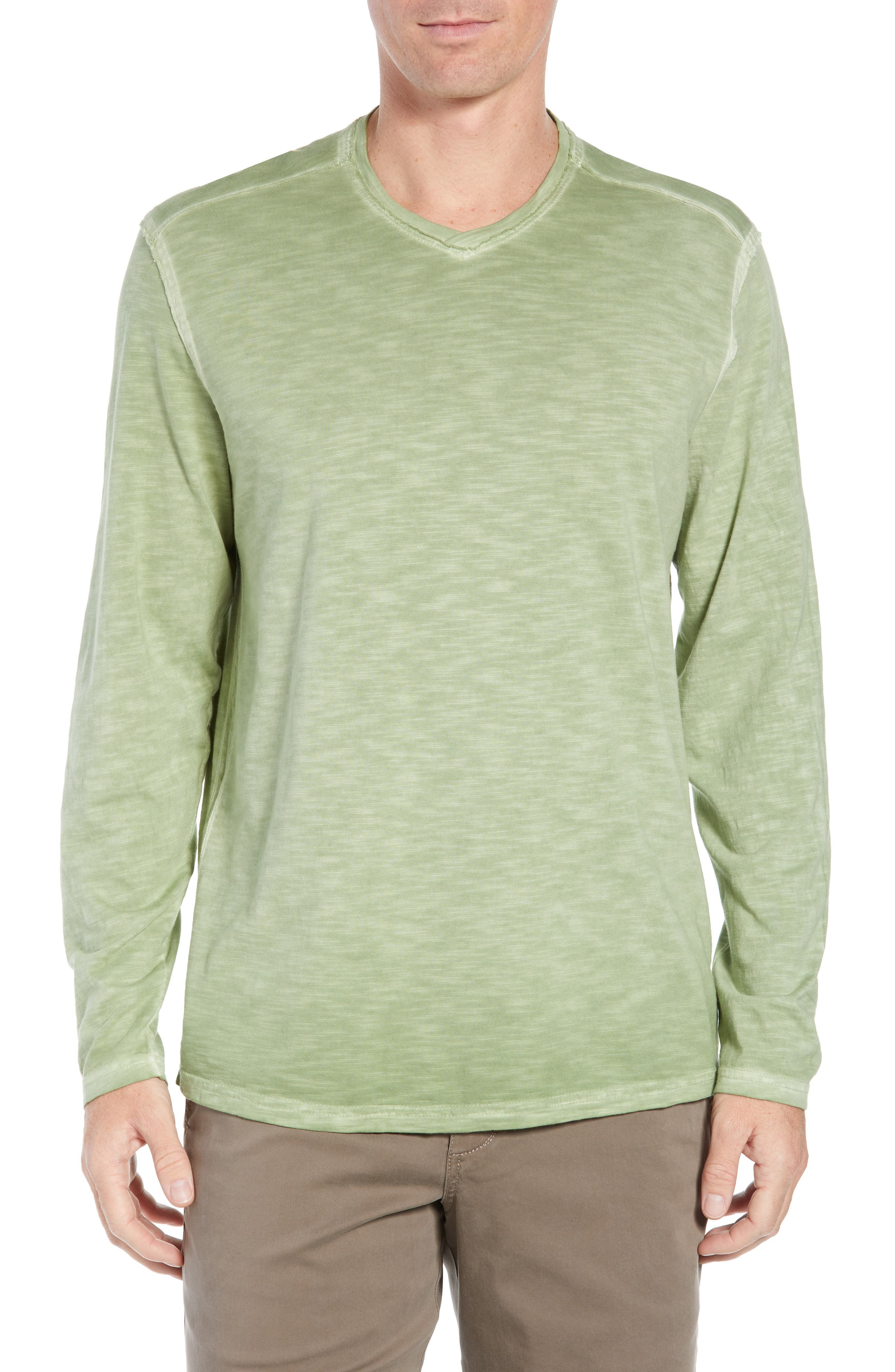 Suncoast Shores Long Sleeve V-Neck T-Shirt,                             Main thumbnail 1, color,                             WILD CLOVER