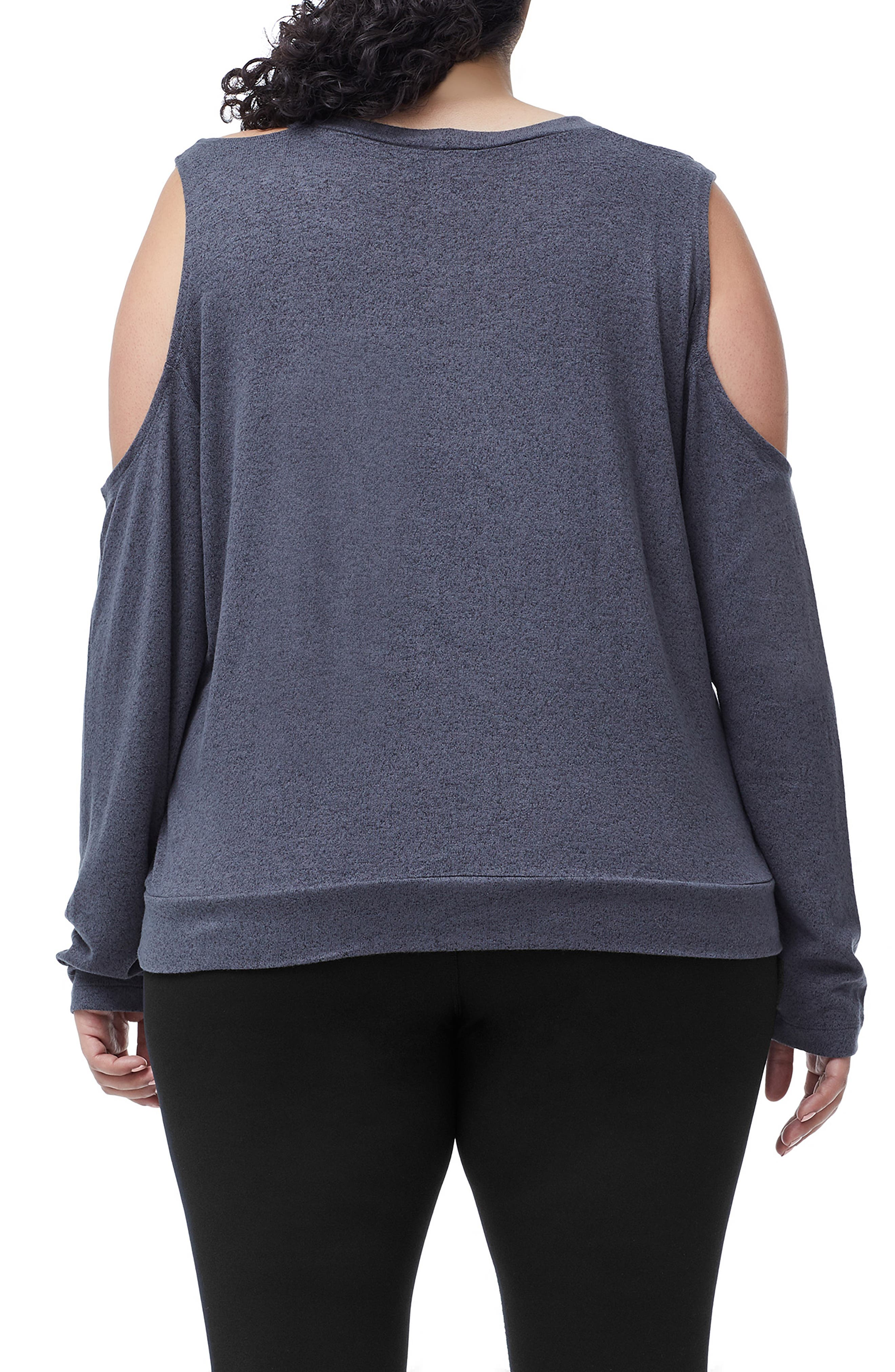 Cold Shoulder Tee,                             Alternate thumbnail 6, color,                             CHARCOAL001