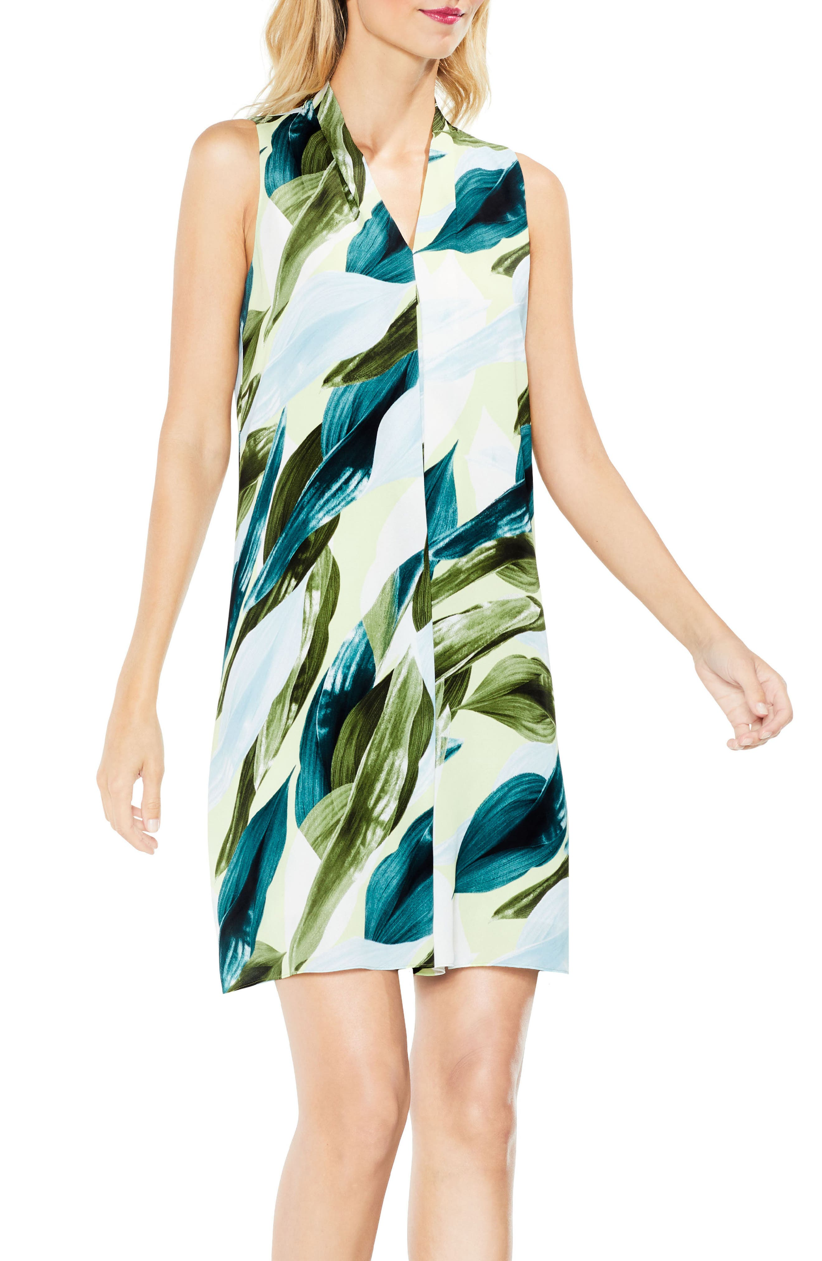 Breezy Leaves Inverted Pleat Dress,                             Alternate thumbnail 3, color,                             108
