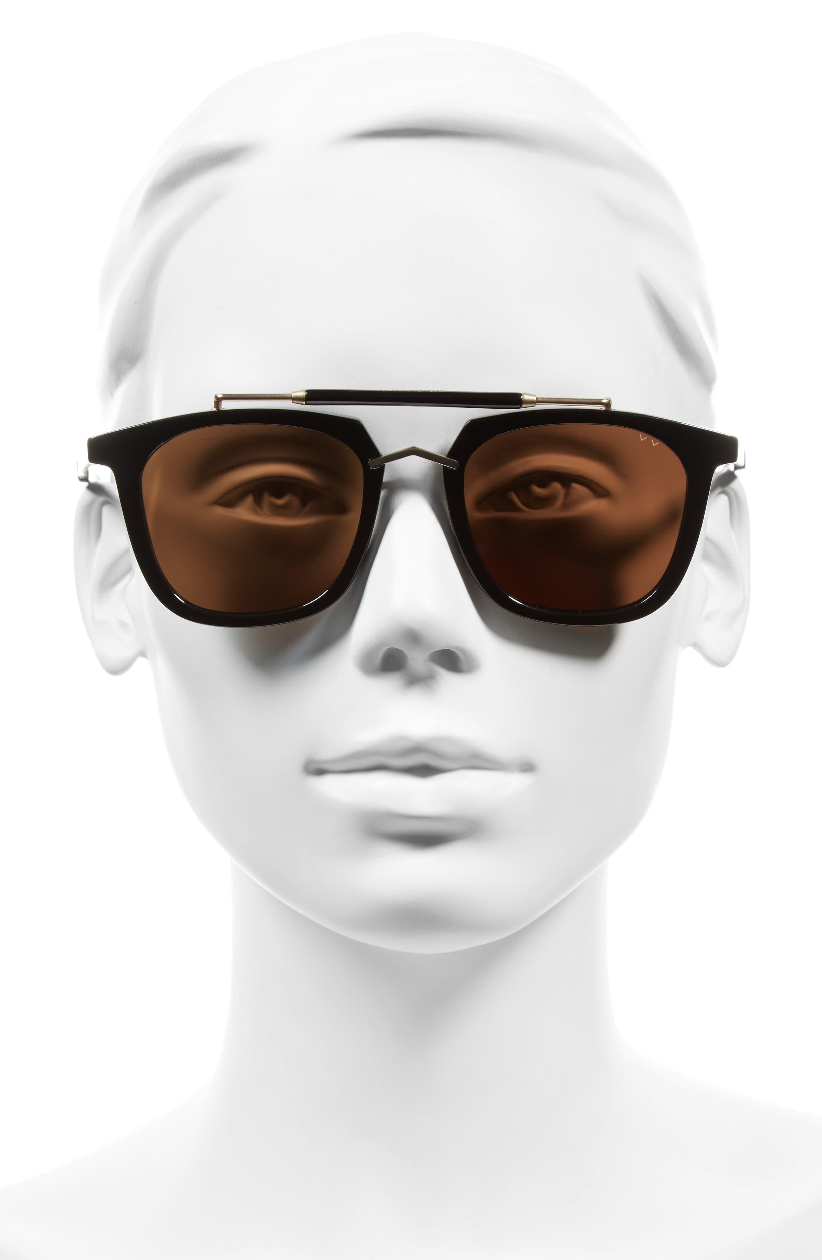 Camels & Caravans 50mm Retro Sunglasses,                             Alternate thumbnail 2, color,                             BLACK/ GOLD BROWN