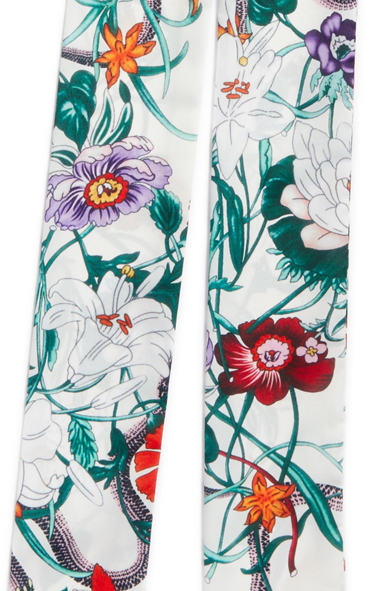 Floral Print Skinny Scarf,                             Alternate thumbnail 4, color,