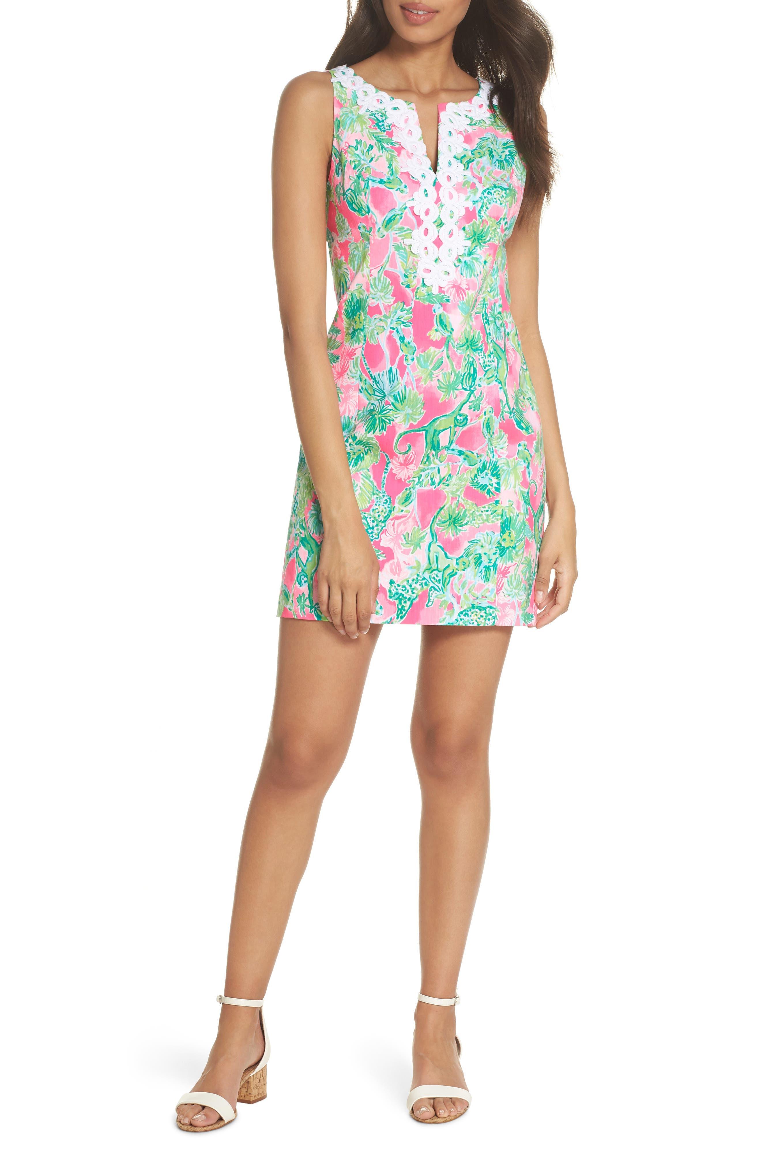 Gabby Tropical Print Dress,                             Alternate thumbnail 6, color,                             RAZ BERRY CATTY SHACK