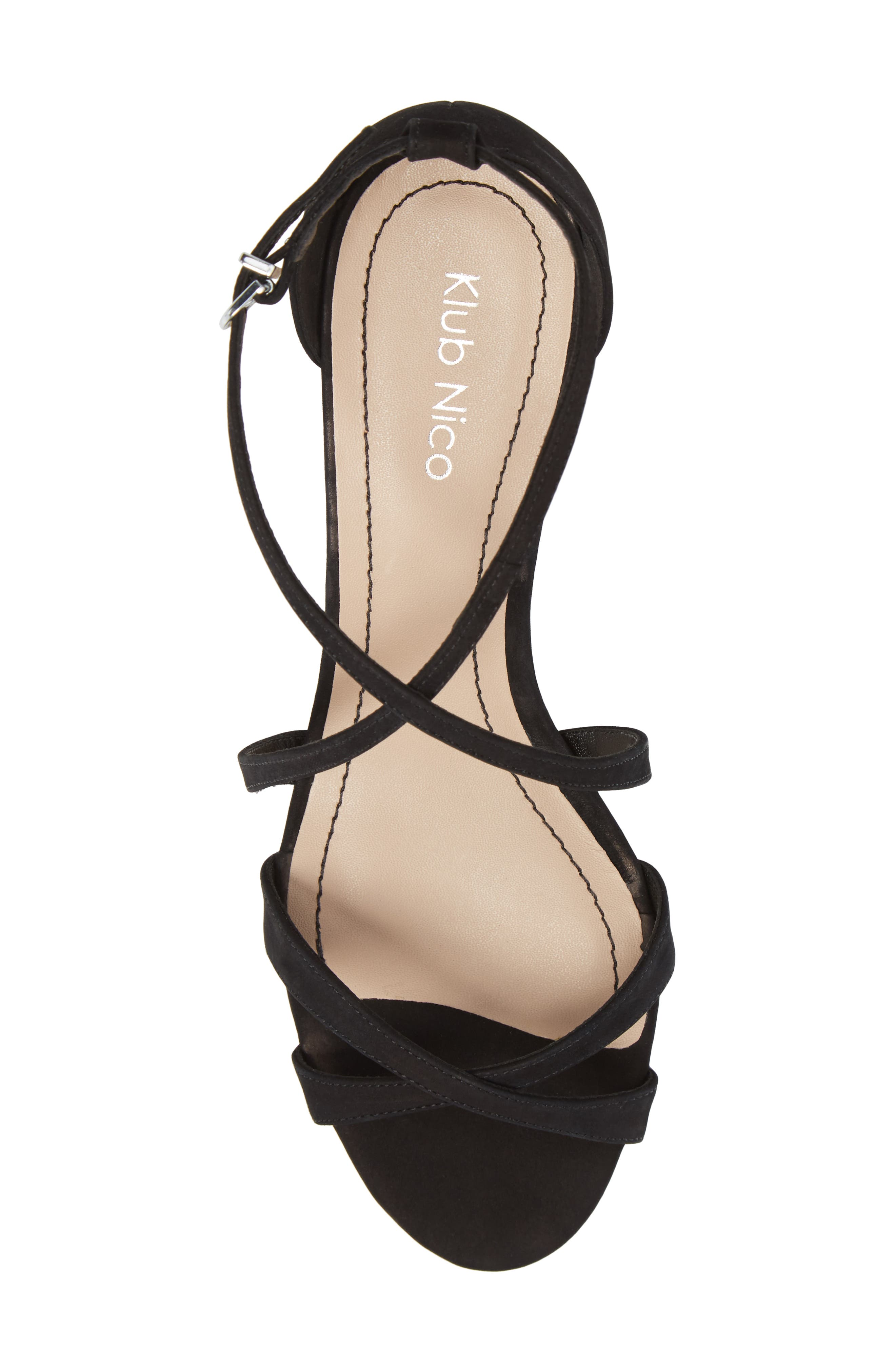 KLUB NICO,                             Kaissa Sandal,                             Alternate thumbnail 5, color,                             BLACK NUBUCK LEATHER