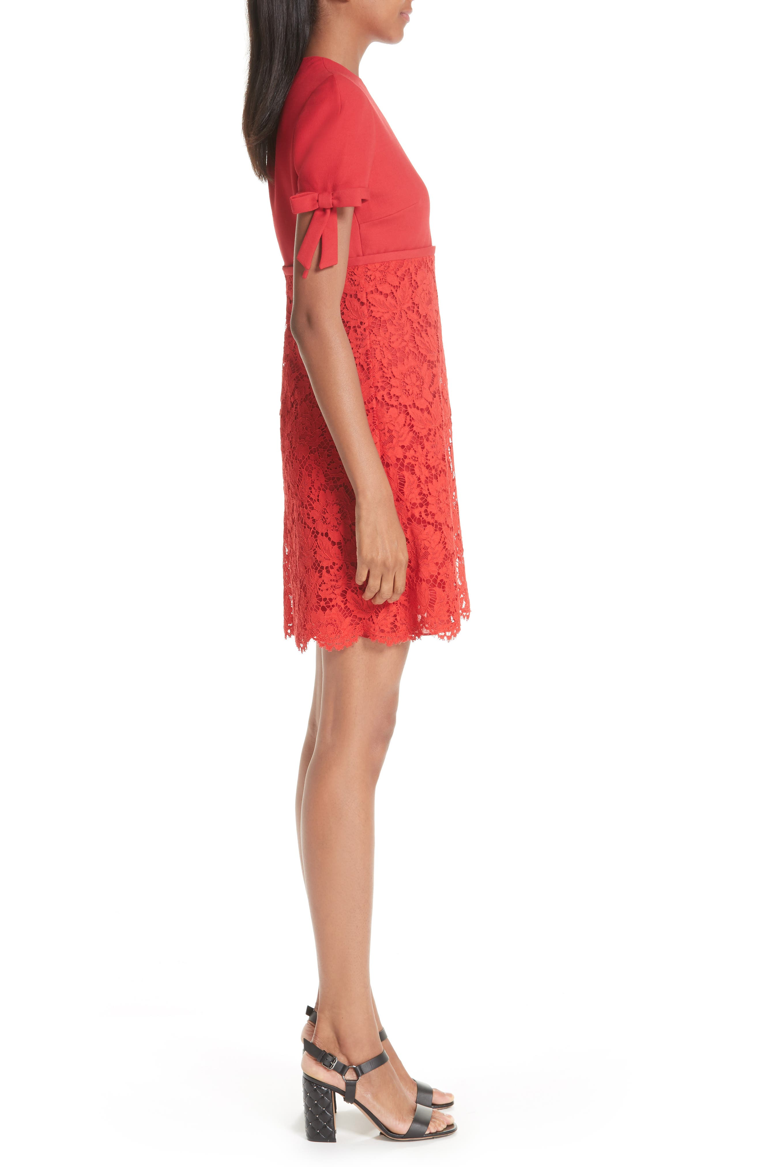Bow Detail Lace Dress,                             Alternate thumbnail 3, color,                             RED
