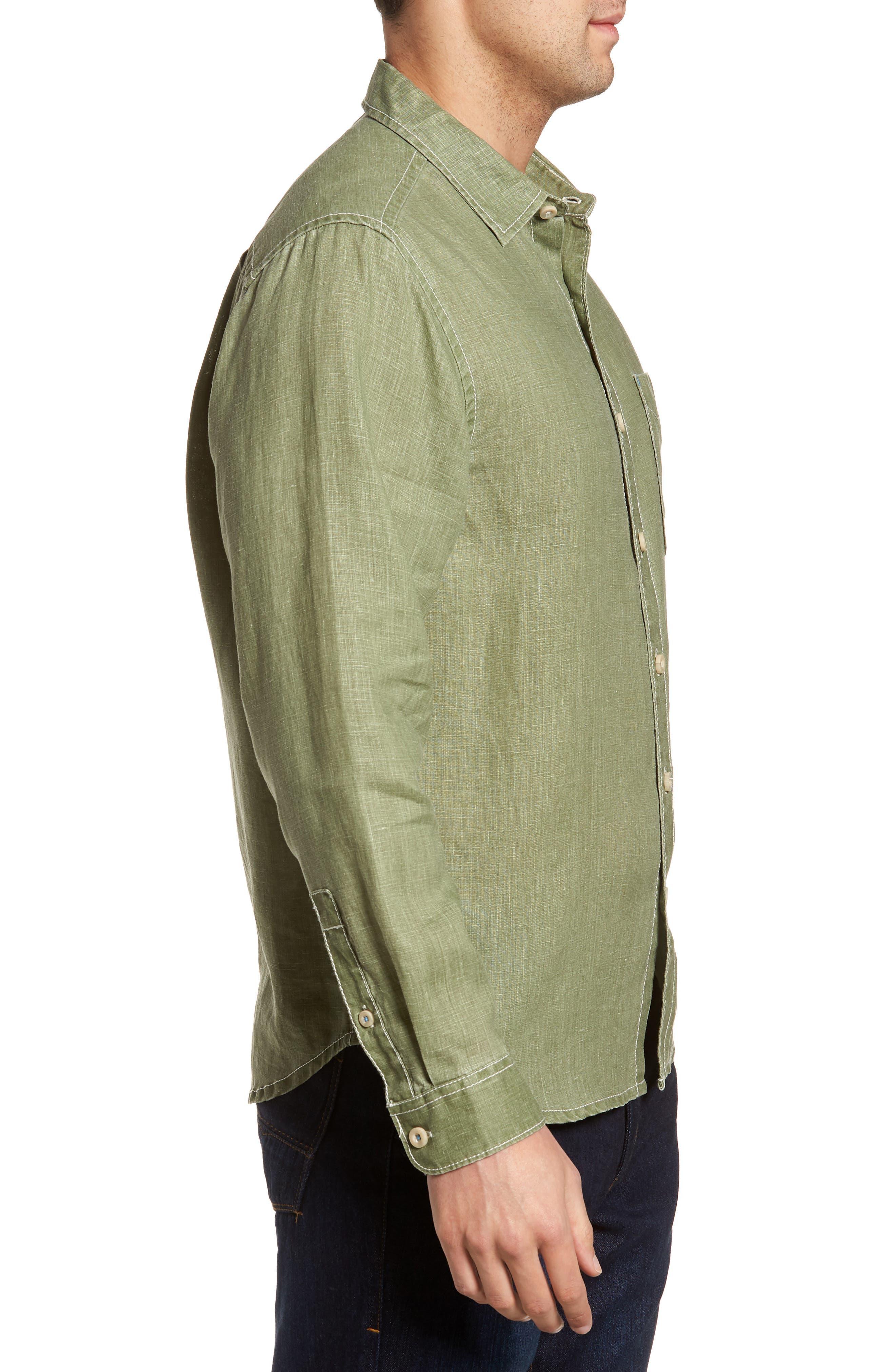 Sea Glass Breezer Linen Sport Shirt,                             Alternate thumbnail 3, color,                             304
