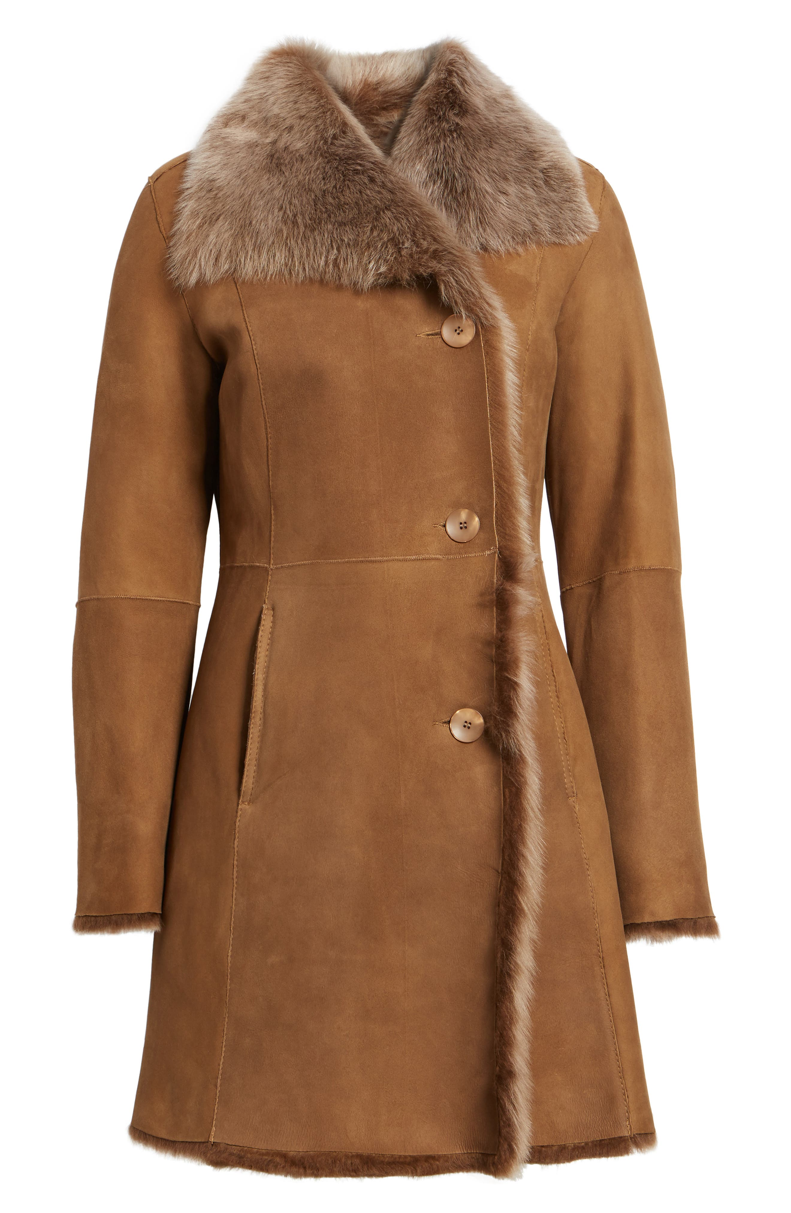Genuine Toscana Shearling Coat,                             Alternate thumbnail 5, color,                             202