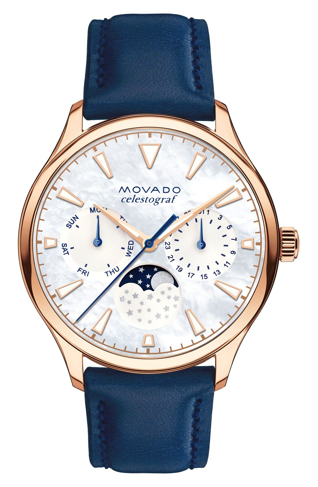 'Heritage' Multifunction Leather Strap Watch, 36mm,                         Main,                         color, BLUE/ SILVER/ COPPER