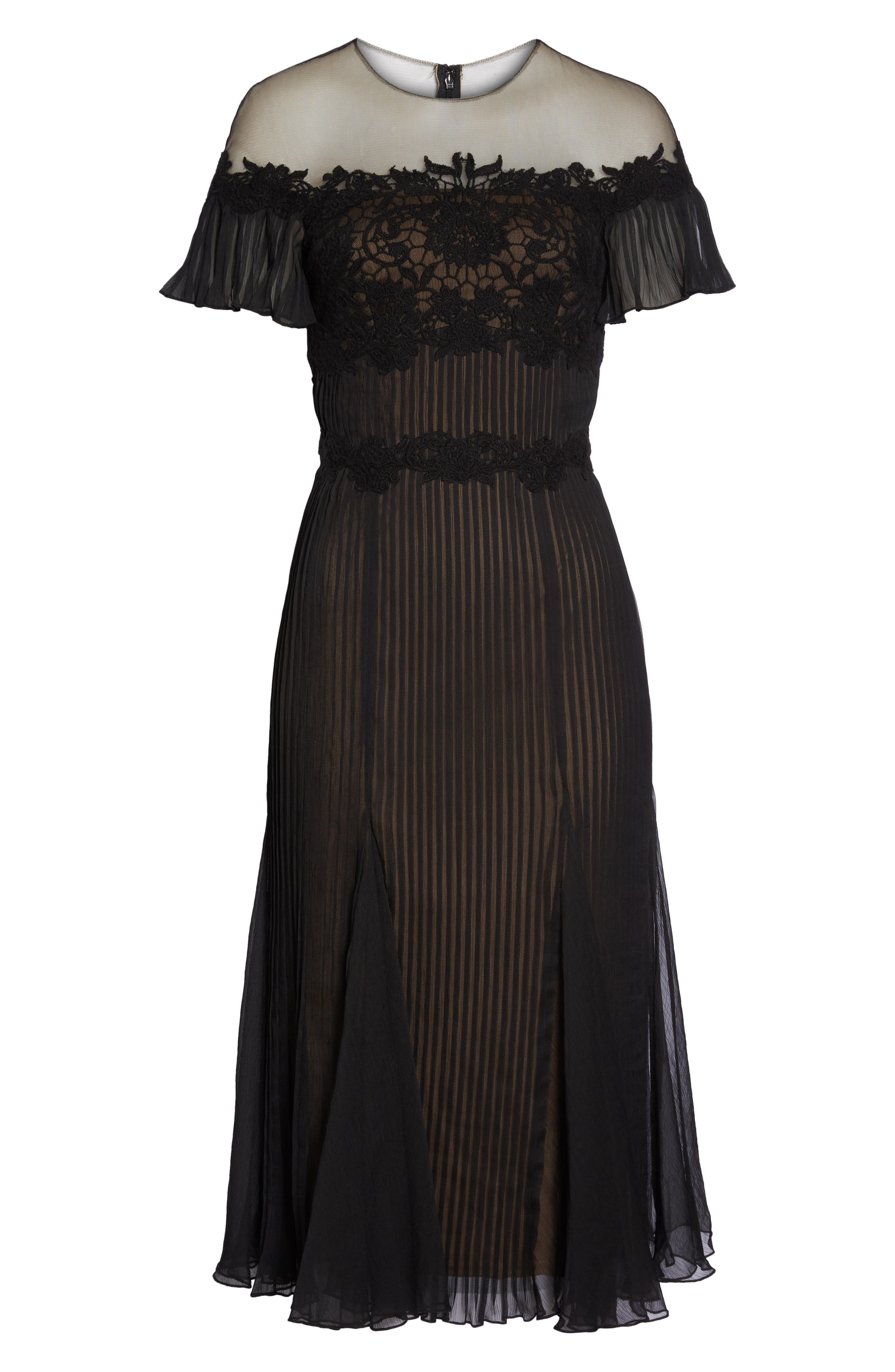 TADASHI SHOJI,                             Lace & Chiffon A-Line Dress,                             Alternate thumbnail 7, color,                             BLACK/ NUDE