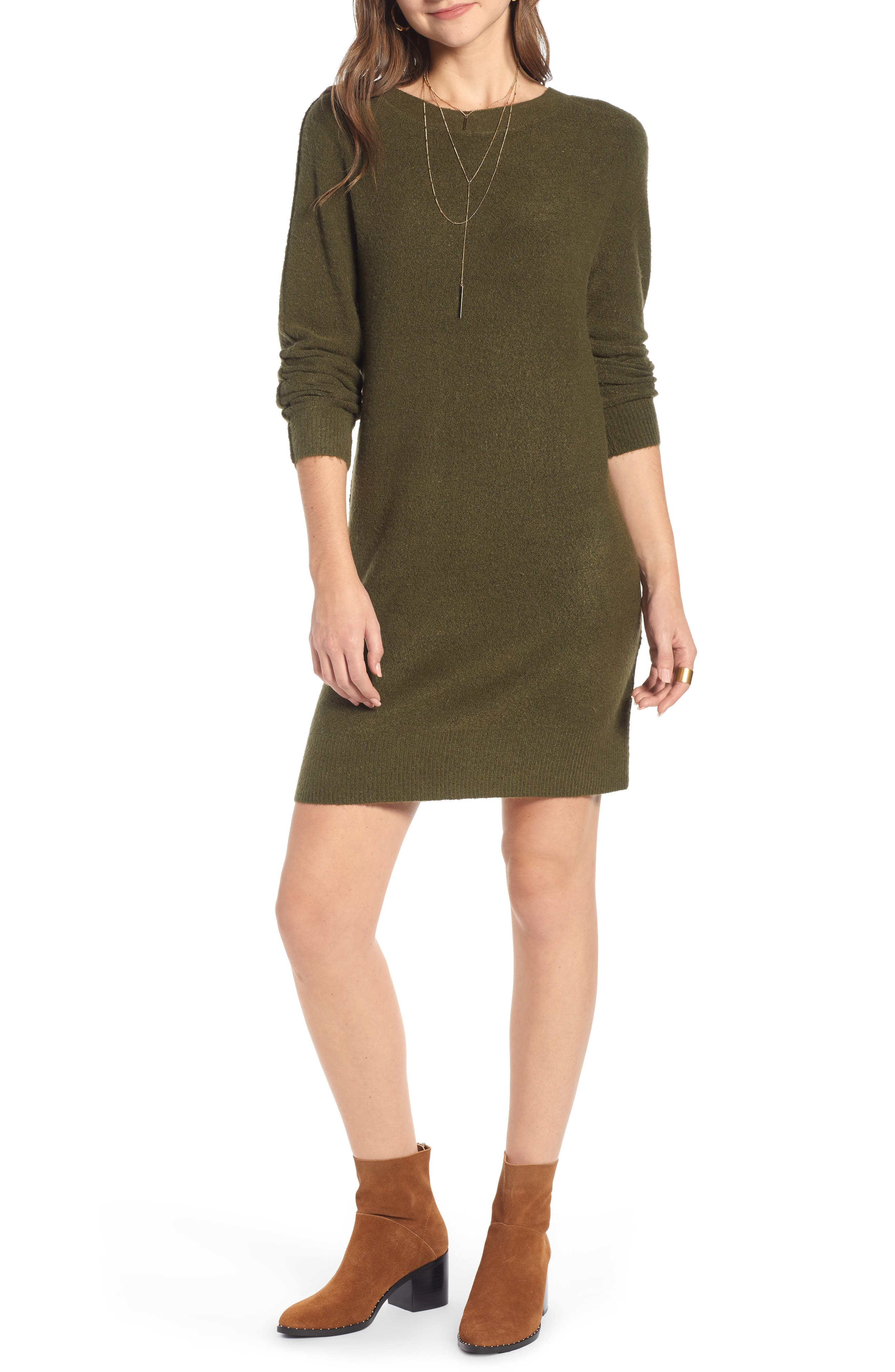 Cozy Sweater Dress,                             Main thumbnail 1, color,                             OLIVE BURNT