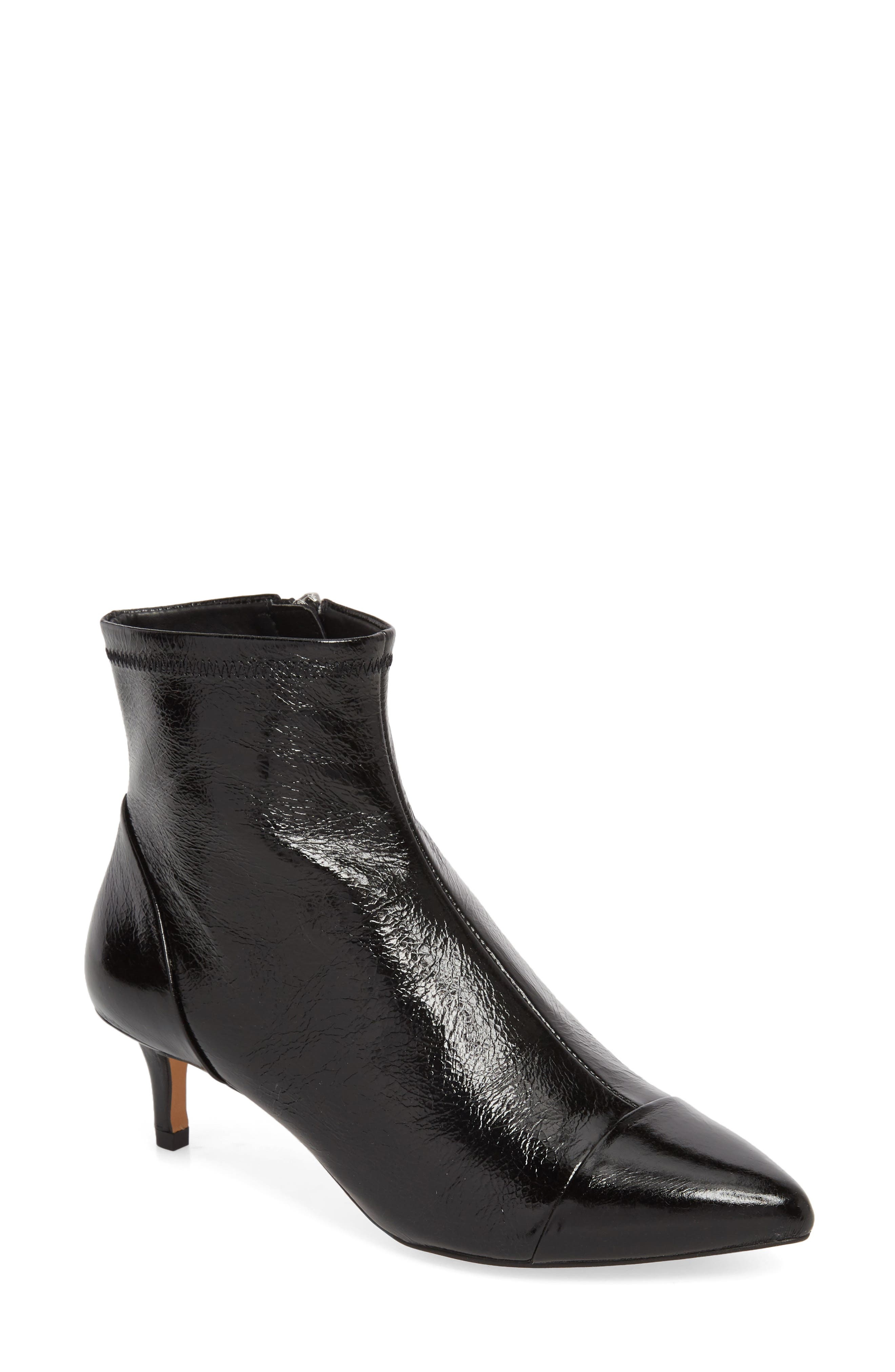Siya Bootie,                         Main,                         color, BLACK LEATHER