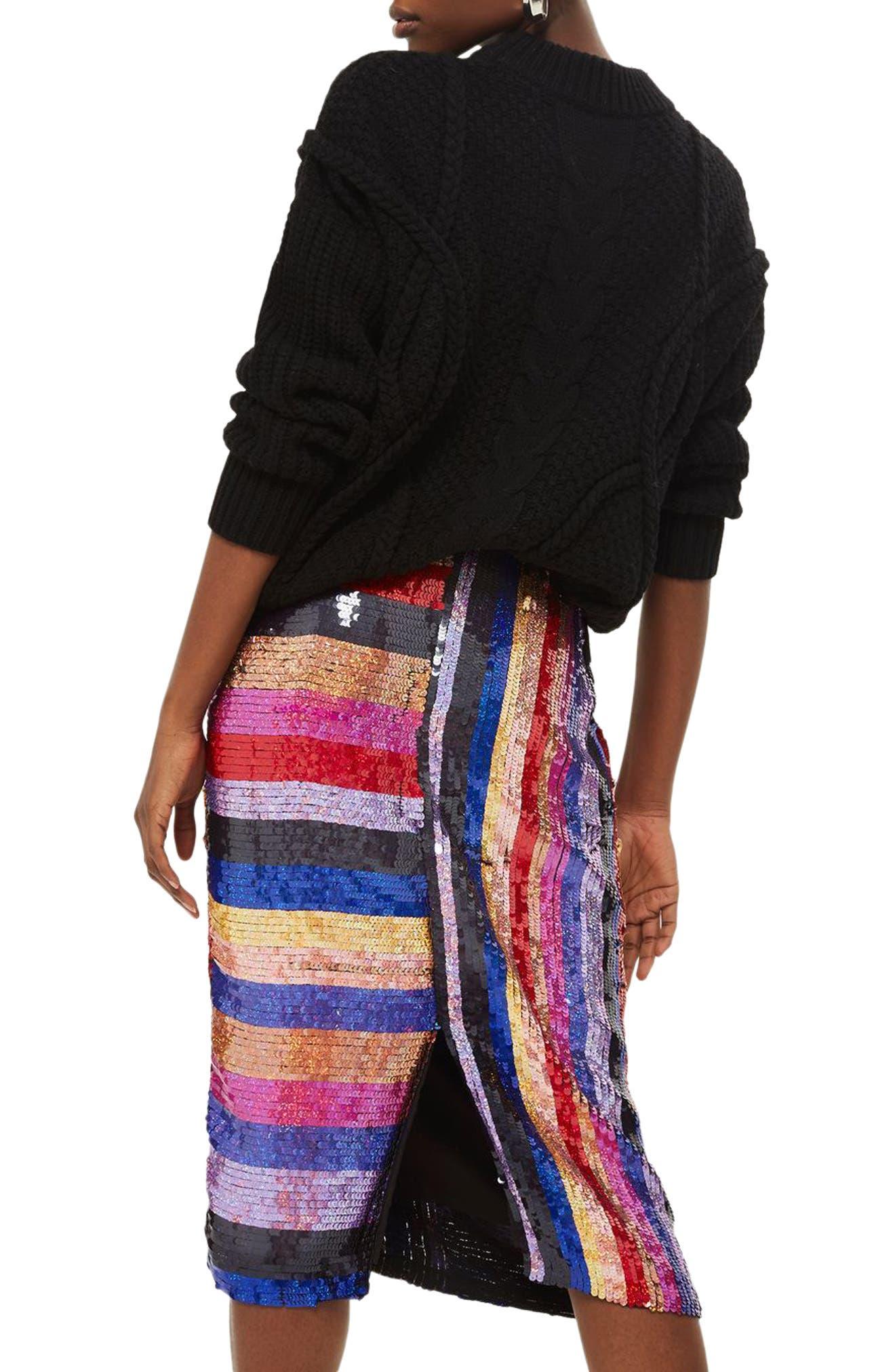 Premium Rainbow Sequin Midi Skirt,                             Alternate thumbnail 2, color,                             400