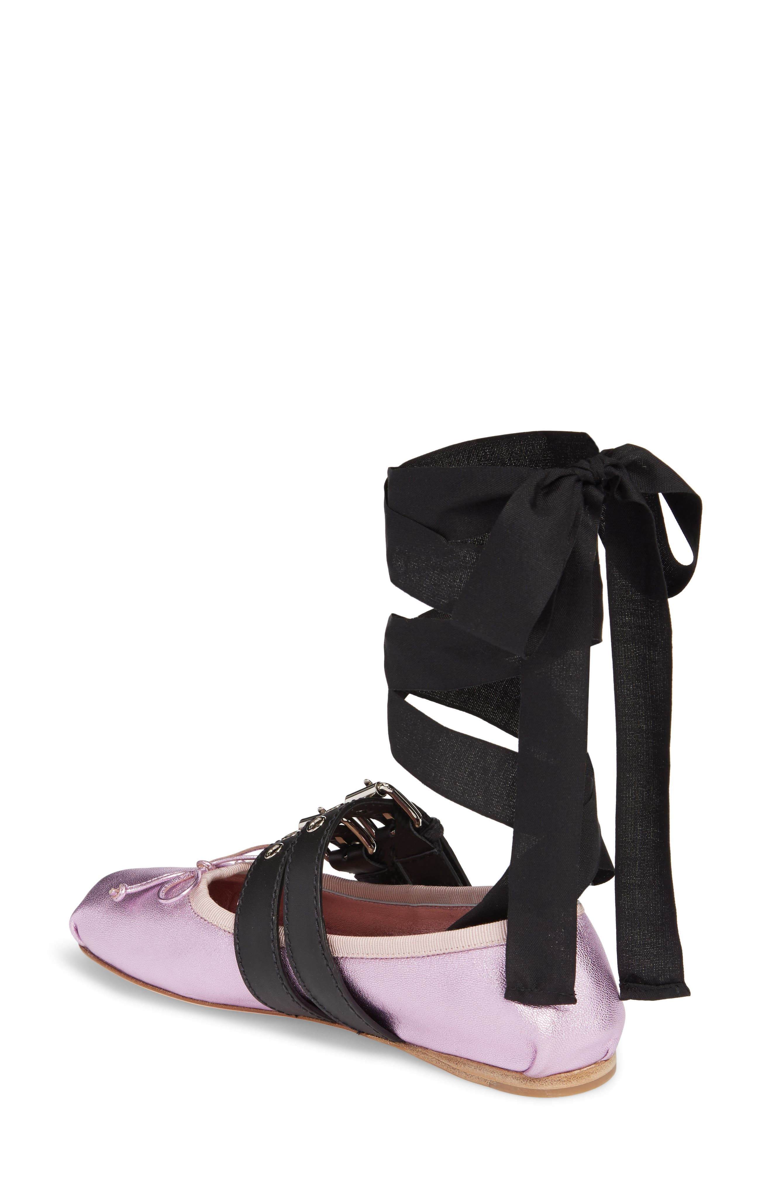 MIU MIU,                             Lace-Up Ballerina Flat,                             Alternate thumbnail 2, color,                             650