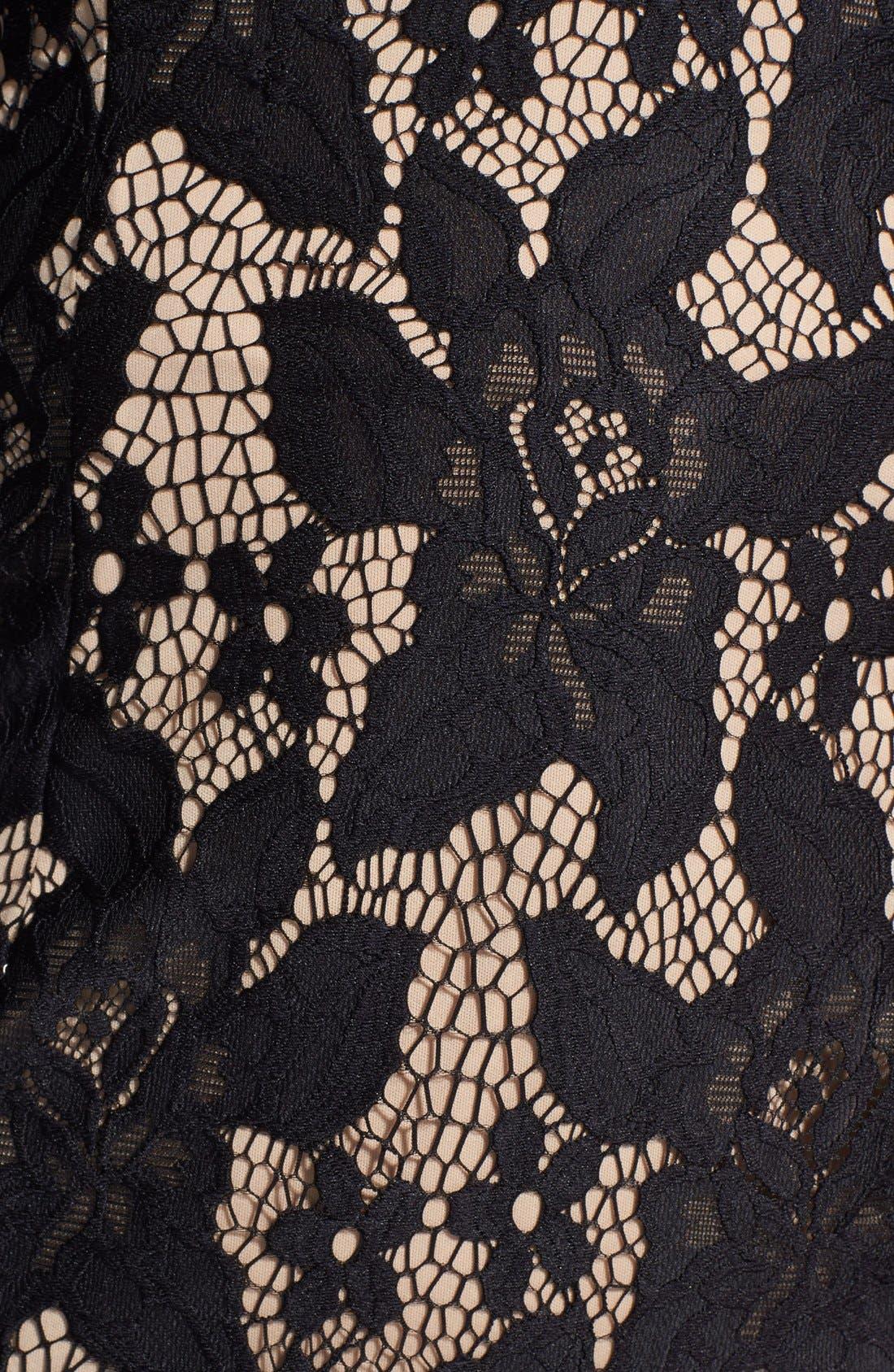 Long Sleeve Lace Cocktail Dress,                             Alternate thumbnail 4, color,                             001