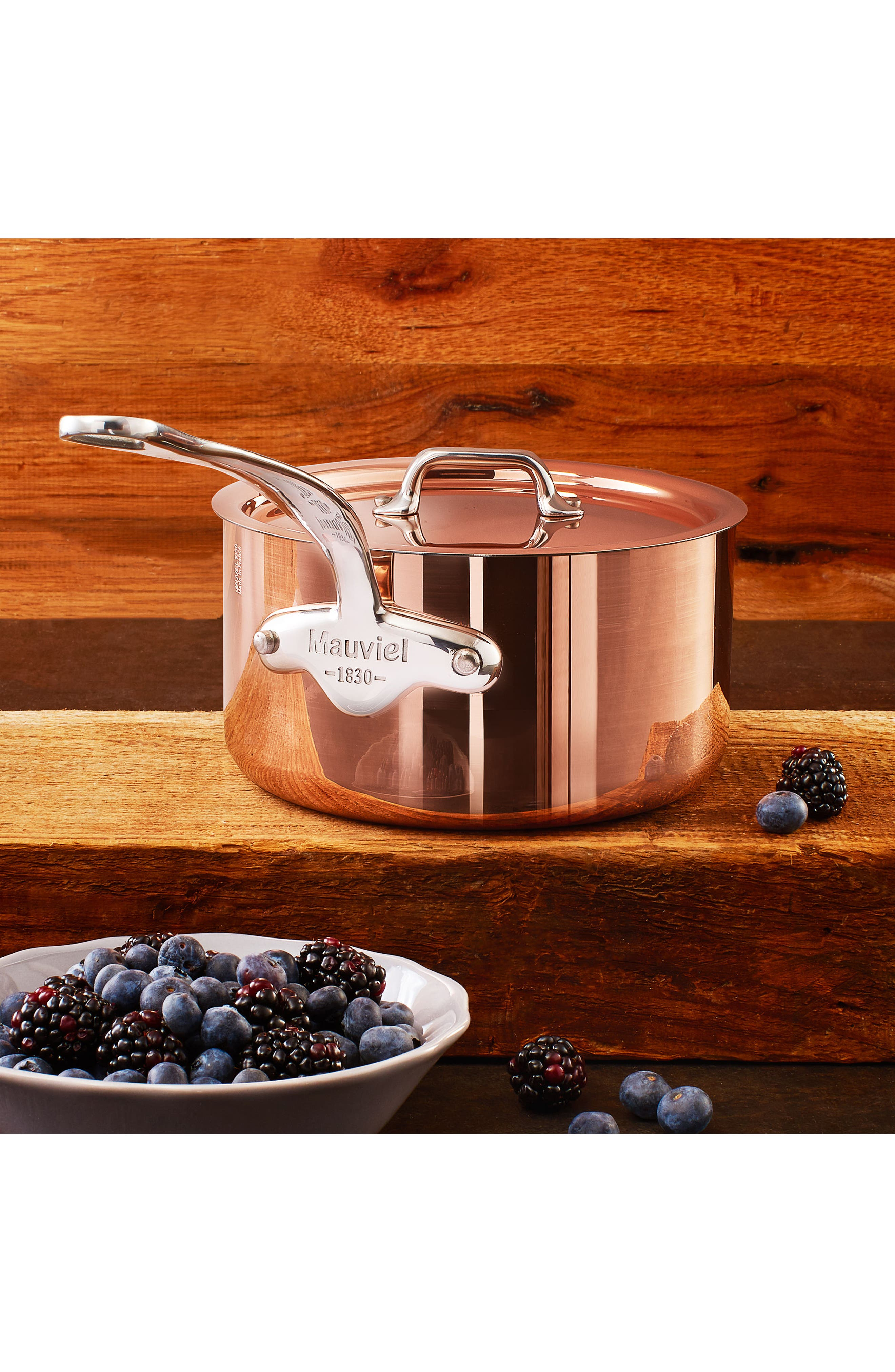 M'héritage - M'150s Copper & Stainless Steel Saucepan with Lid,                             Alternate thumbnail 6, color,                             METALLIC RUST/COPPER