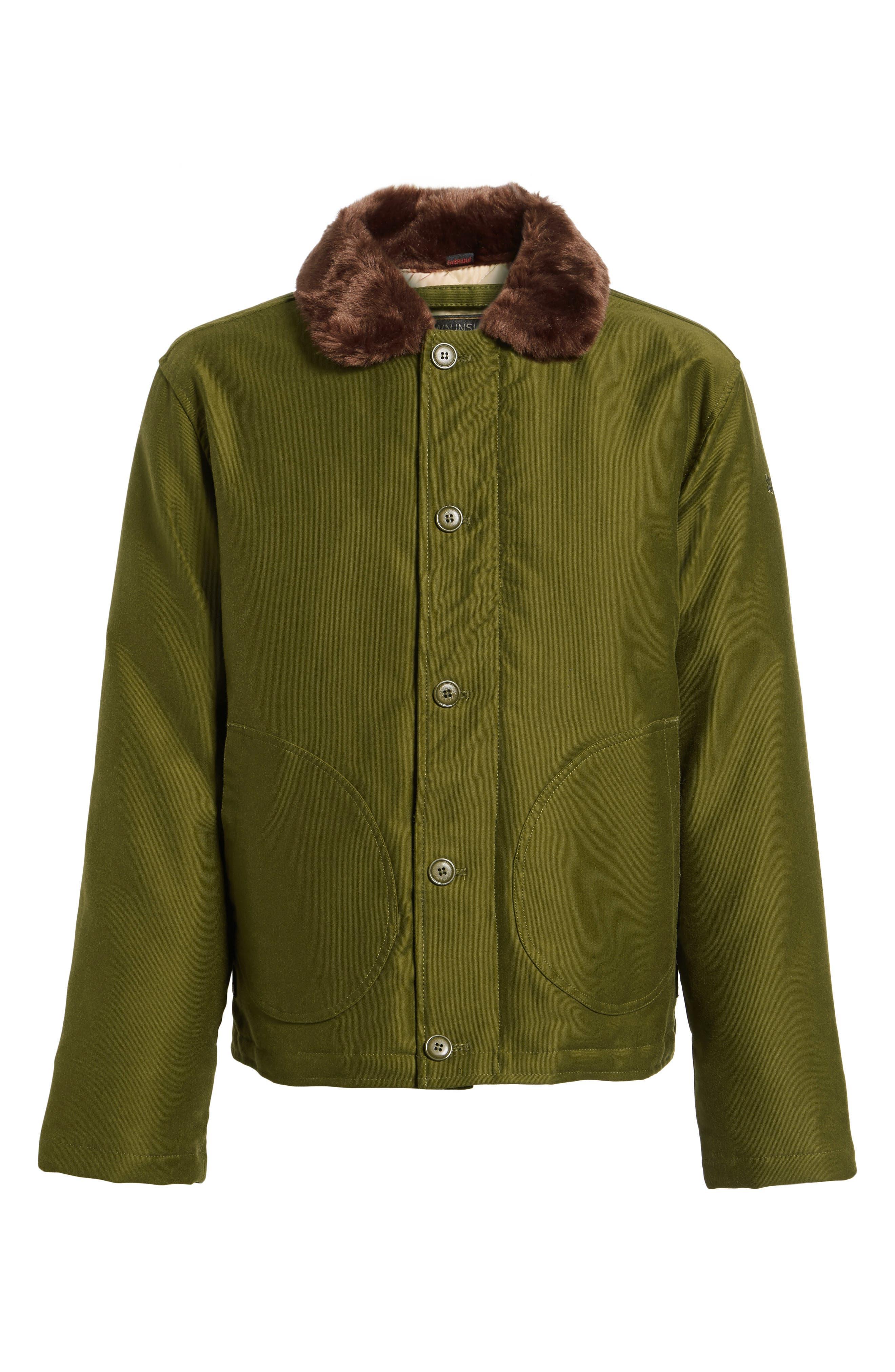 SCHOTT NYC,                             Faux Fur Collar Water-Repellent Corduroy Down Jacket,                             Alternate thumbnail 5, color,                             252