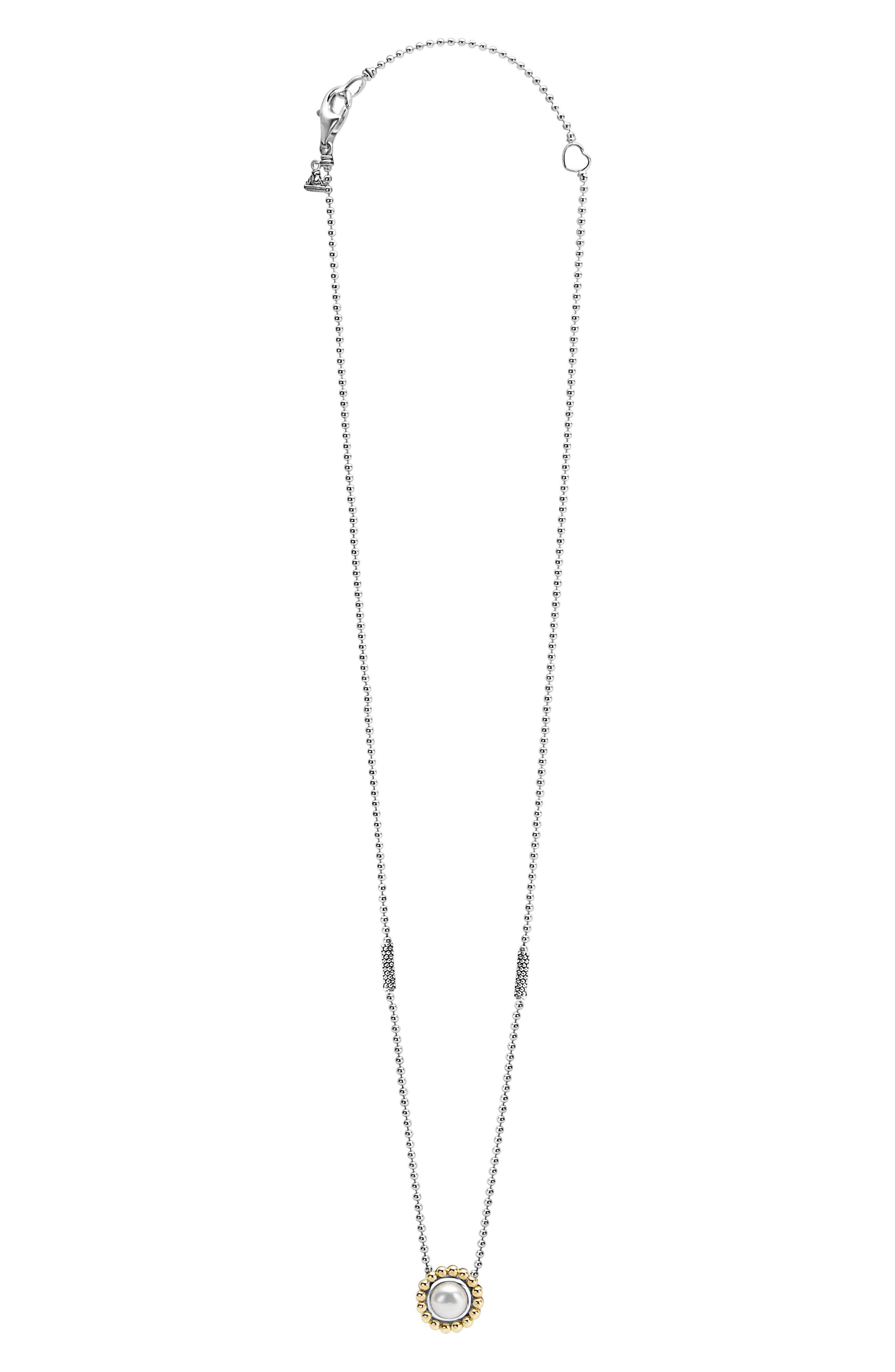 Stone Pendant Necklace,                             Alternate thumbnail 3, color,                             PEARL