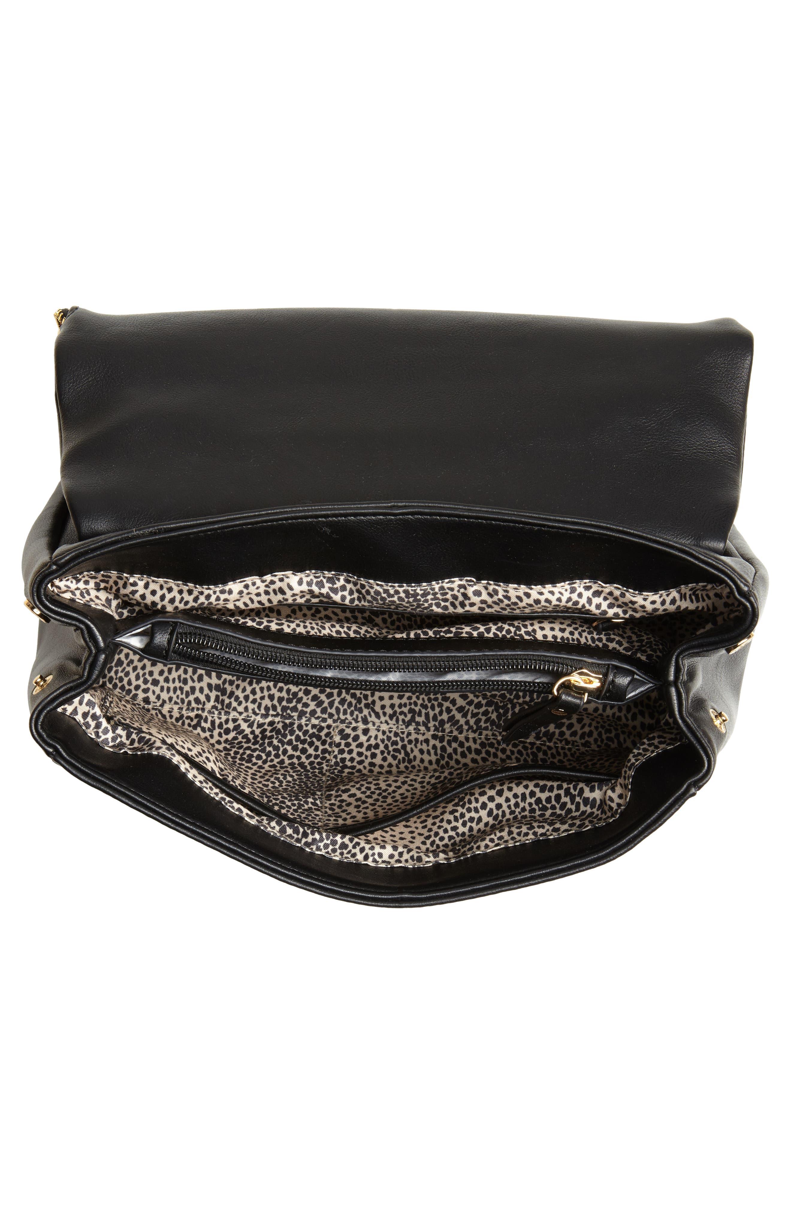 Rubie Faux Leather Crossbody Bag,                             Alternate thumbnail 4, color,                             BLACK