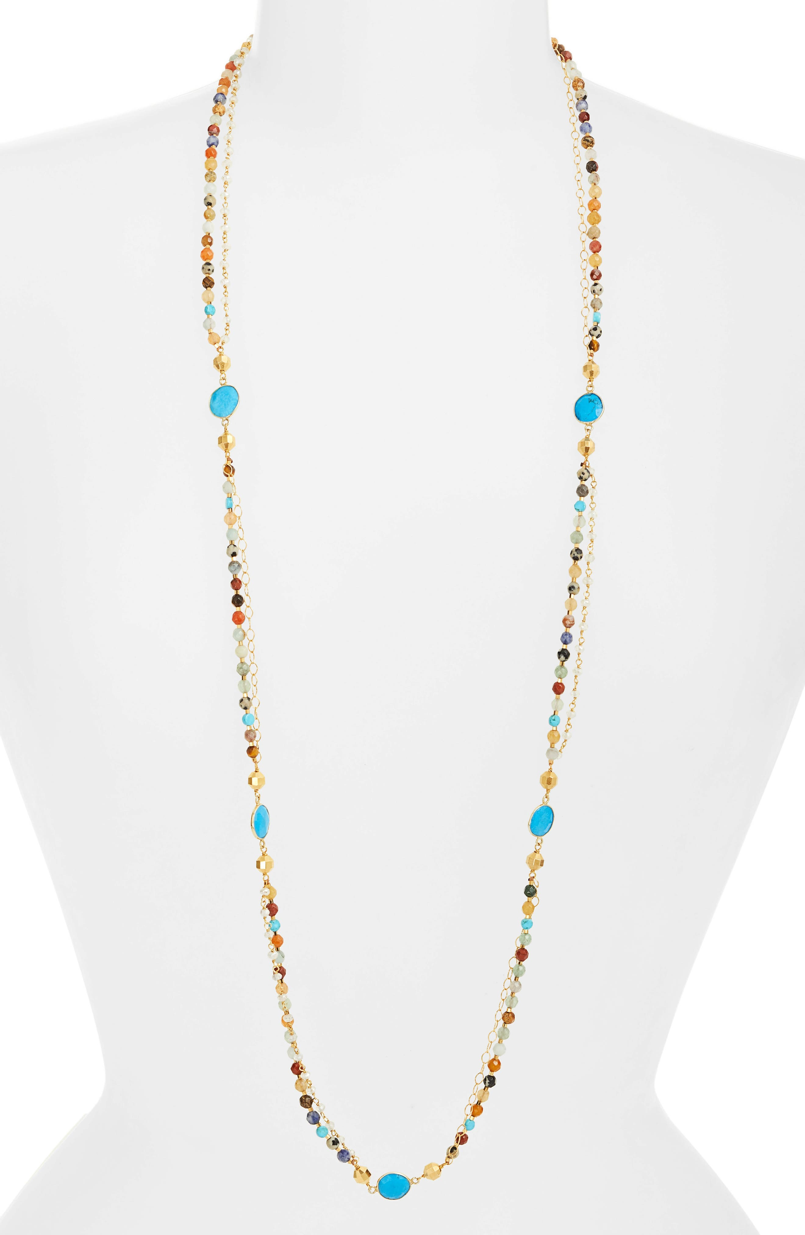 Mixed Bead Layering Necklace,                             Main thumbnail 1, color,                             BROWN MULTI