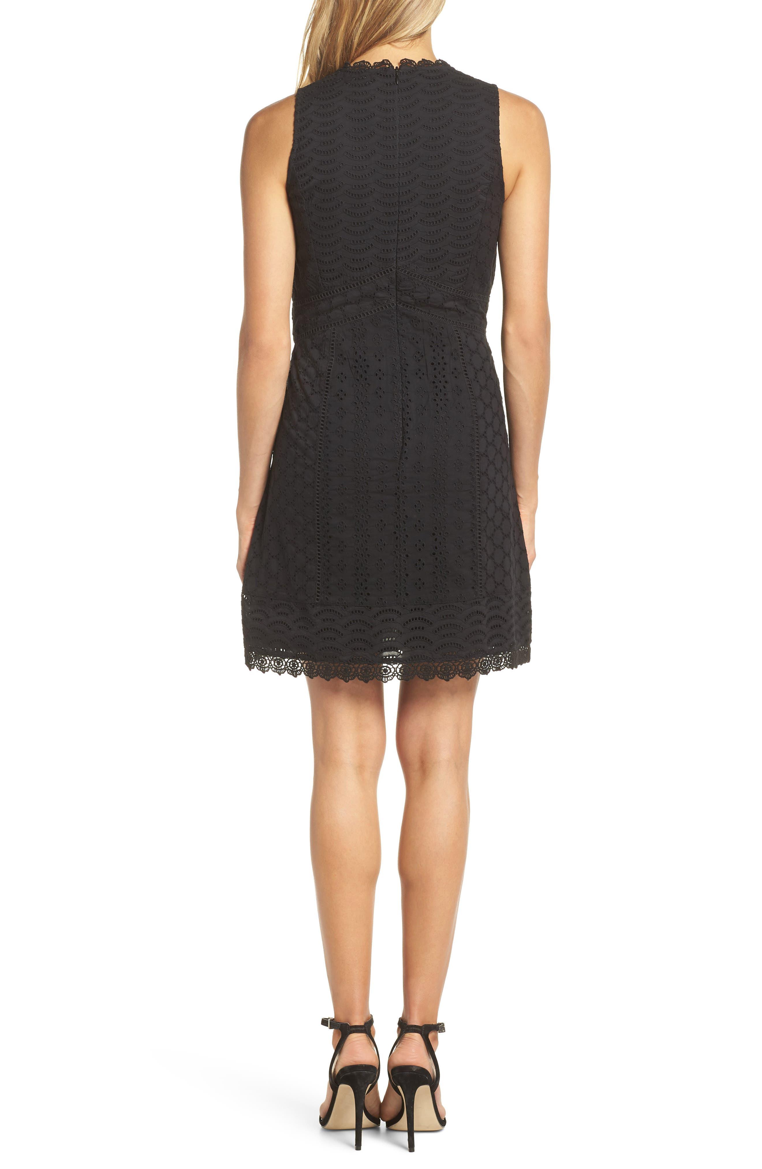 Zahara Eyelet & Lace A-Line Dress,                             Alternate thumbnail 2, color,                             BLACK