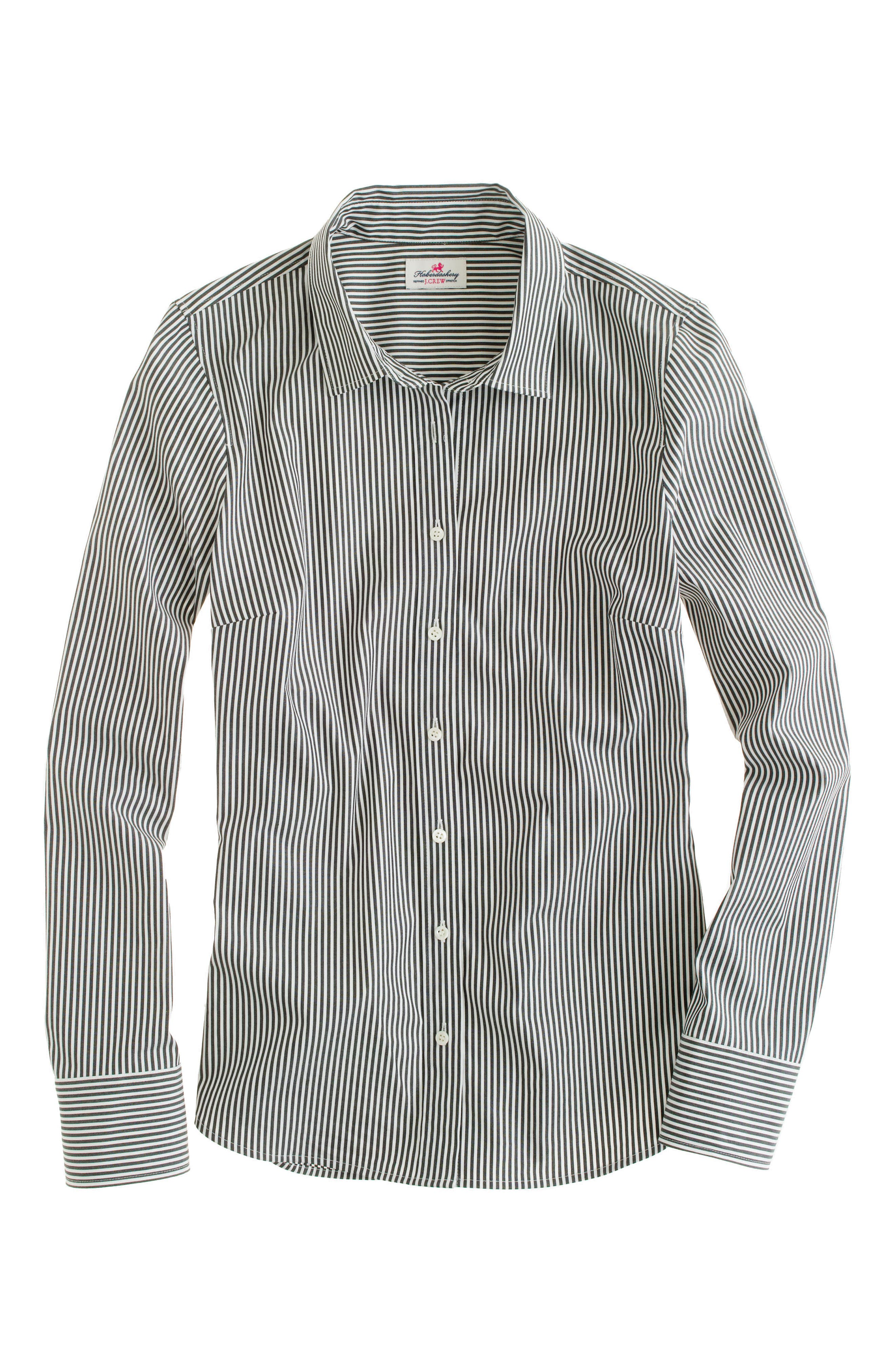 Perfect Classic Stripe Stretch Cotton Shirt,                             Alternate thumbnail 4, color,                             001