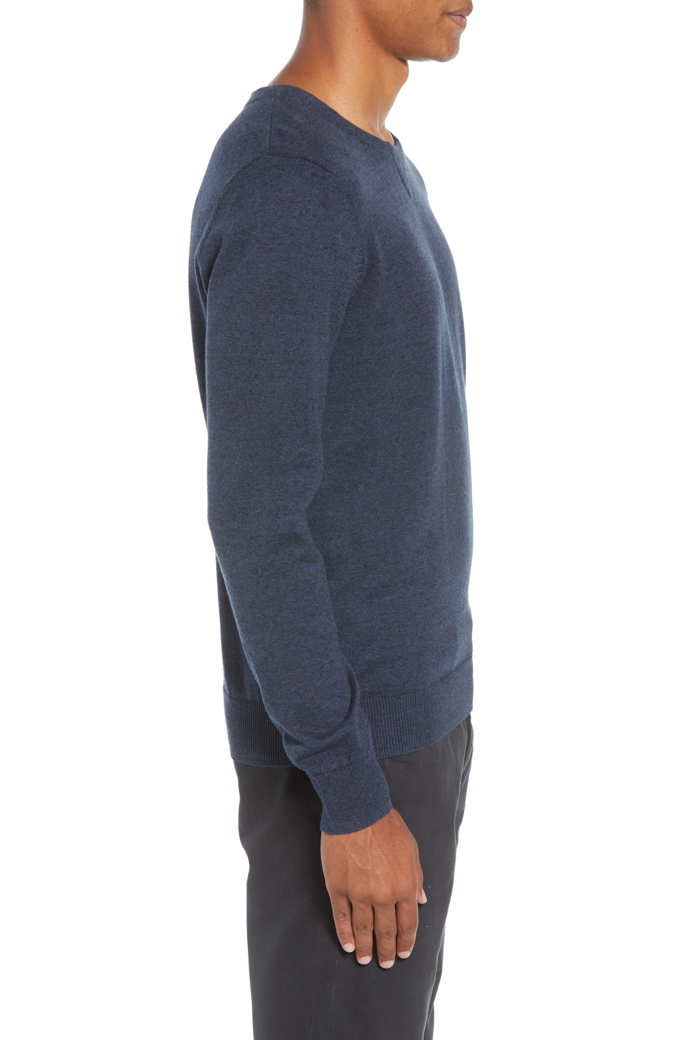 McGill Slim Fit Crewneck Sweater,                             Alternate thumbnail 3, color,                             HEATHER NAVY