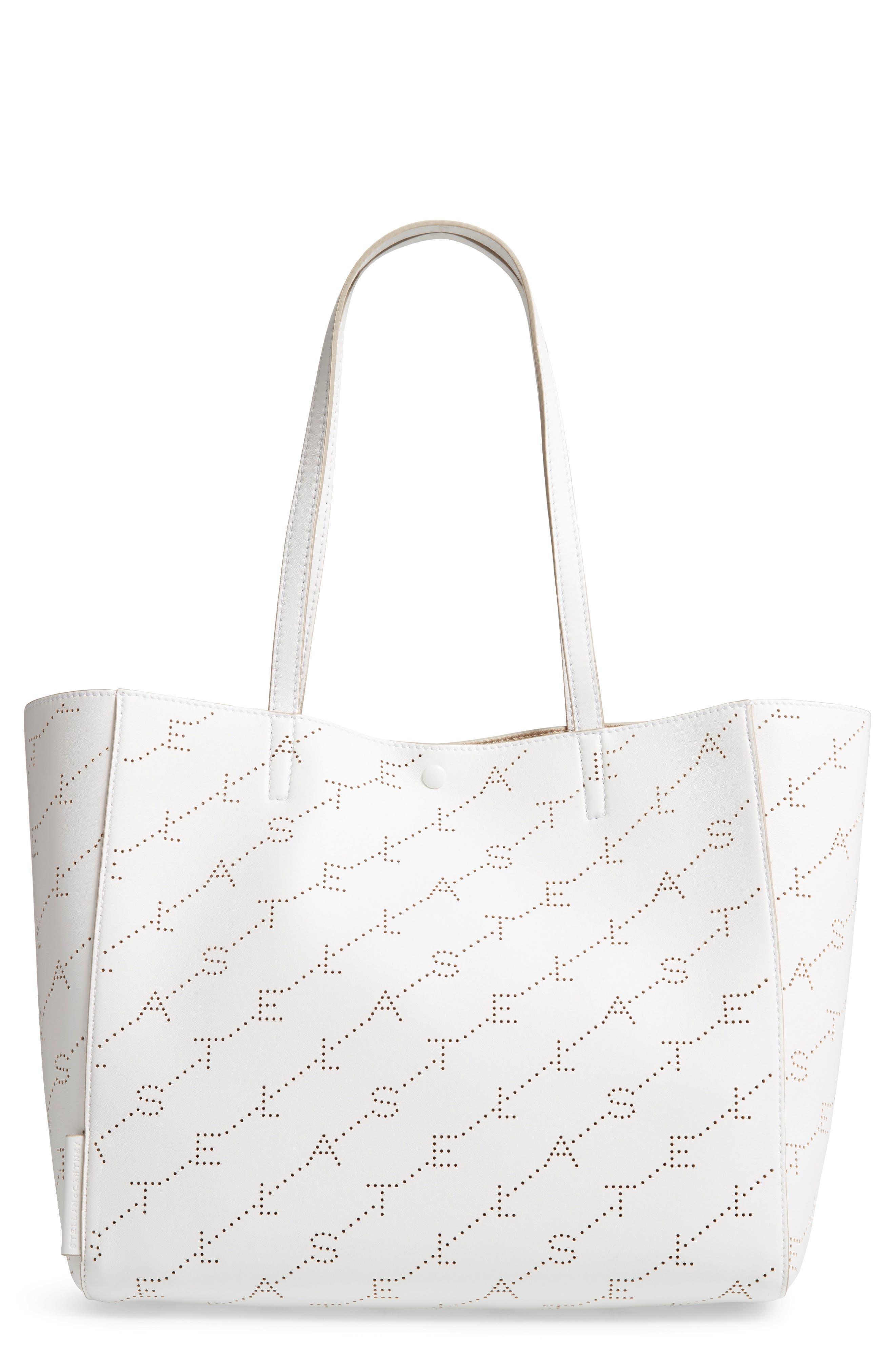 Small Logo Faux Leather Tote,                             Main thumbnail 1, color,                             OPTICAL WHITE