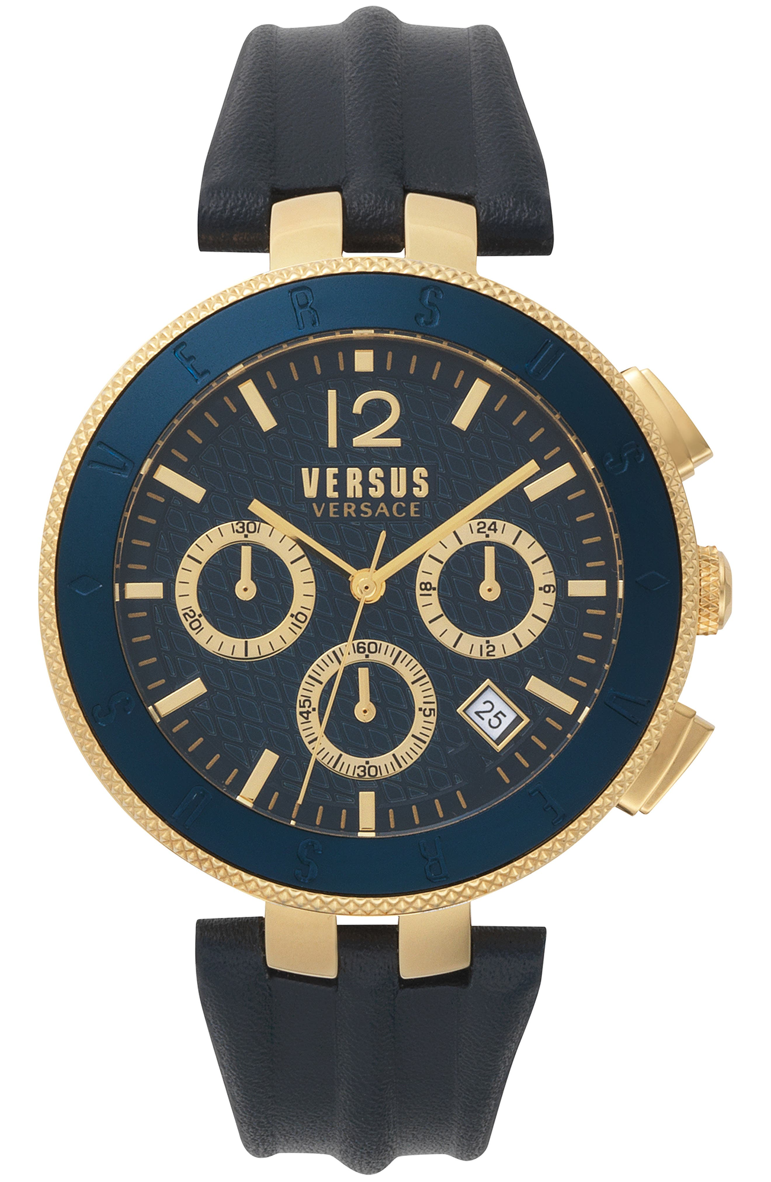 Versace Logo Chronograph Leather Strap Watch, 44mm, Main, color, BLUE/ GOLD