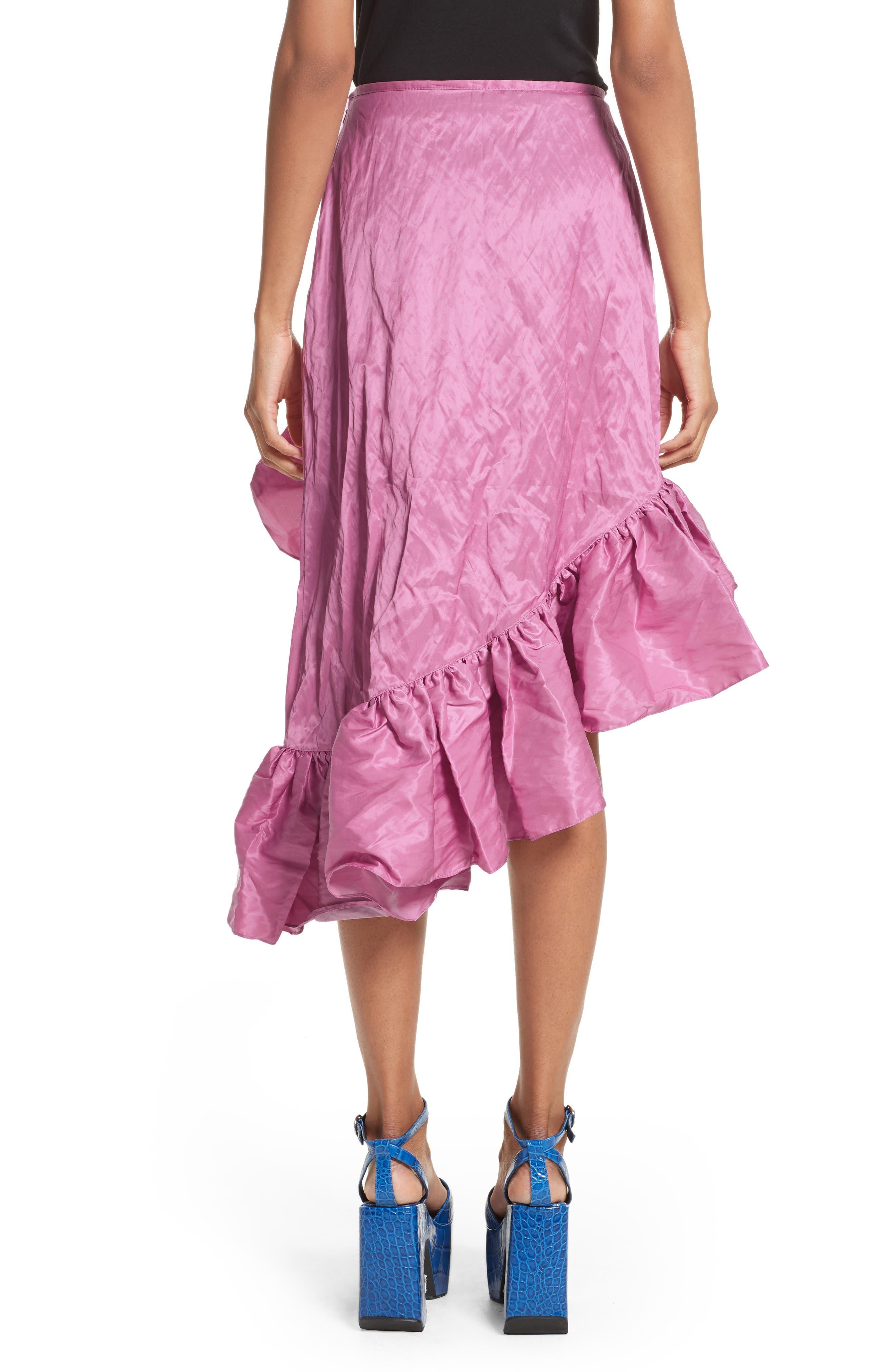 Marques'Almeida Asymmetrical Ruffle Taffeta Skirt,                             Alternate thumbnail 2, color,                             650