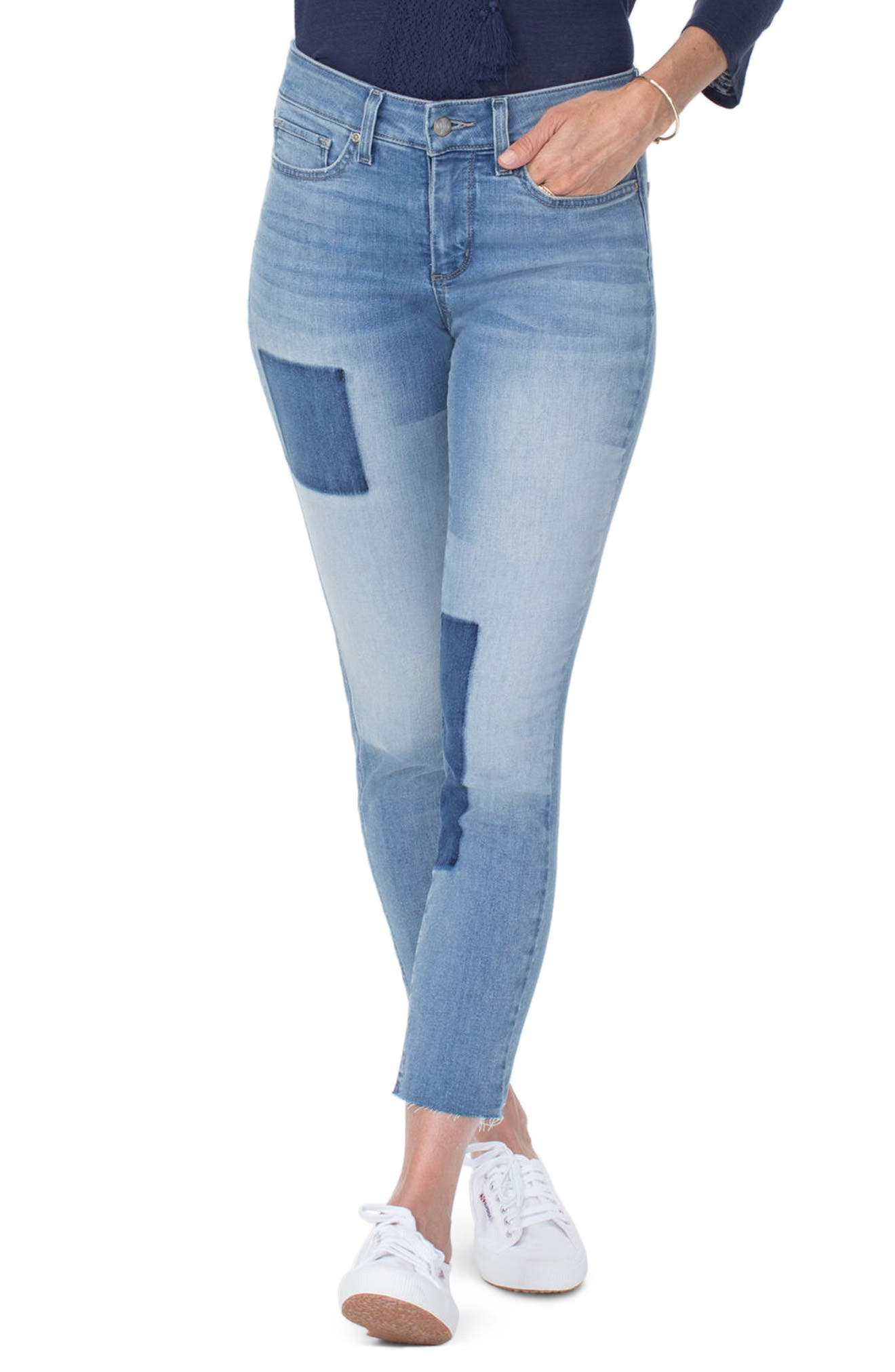 NYDJ Alina High Waist Shadow Detail Ankle Jeans, Main, color, DREAM STATE