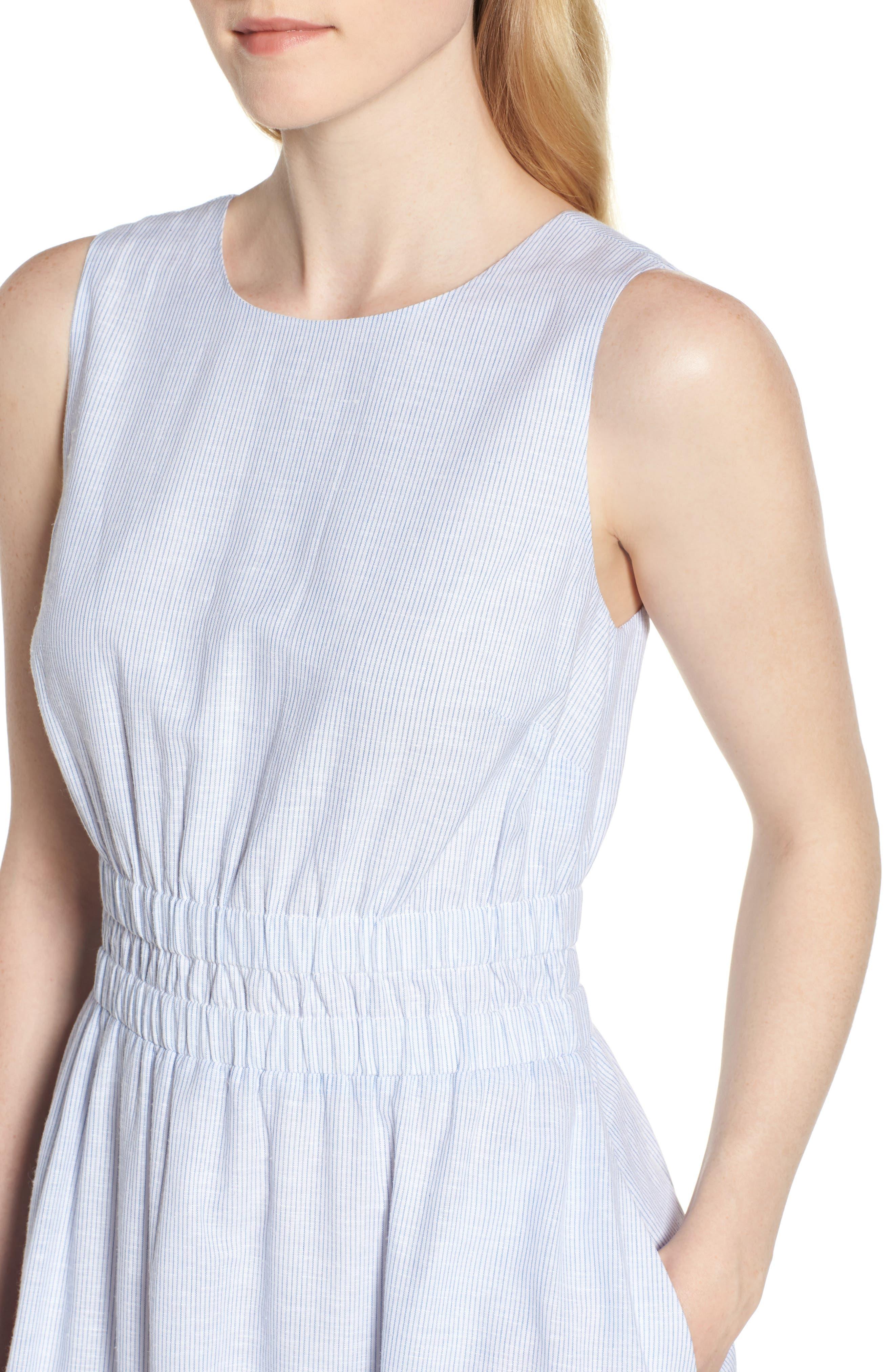 Smocked Waist Pinstripe Midi Dress,                             Alternate thumbnail 4, color,                             100