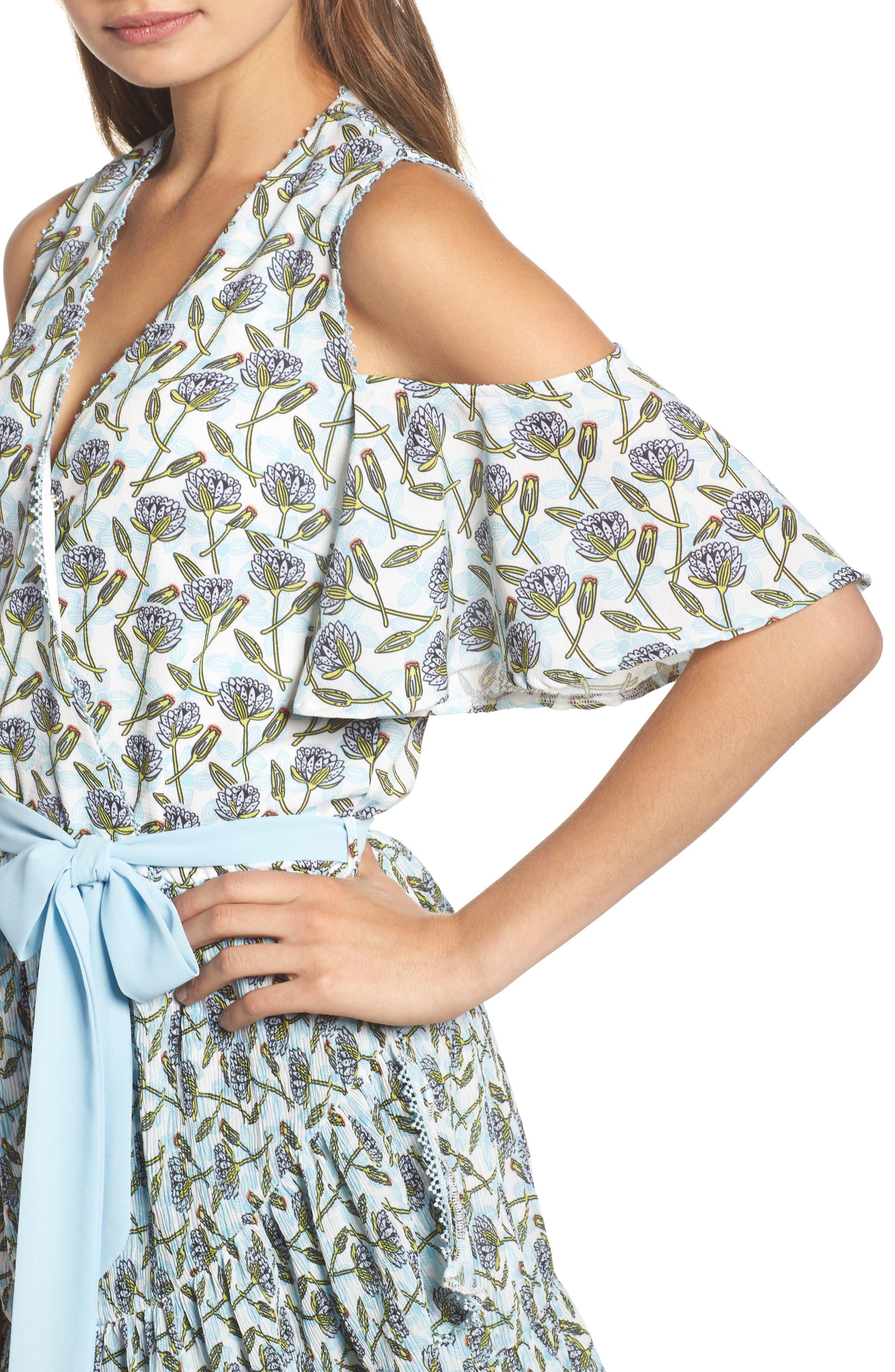 Lexie Cold Shoulder Wrap Dress,                             Alternate thumbnail 4, color,                             400