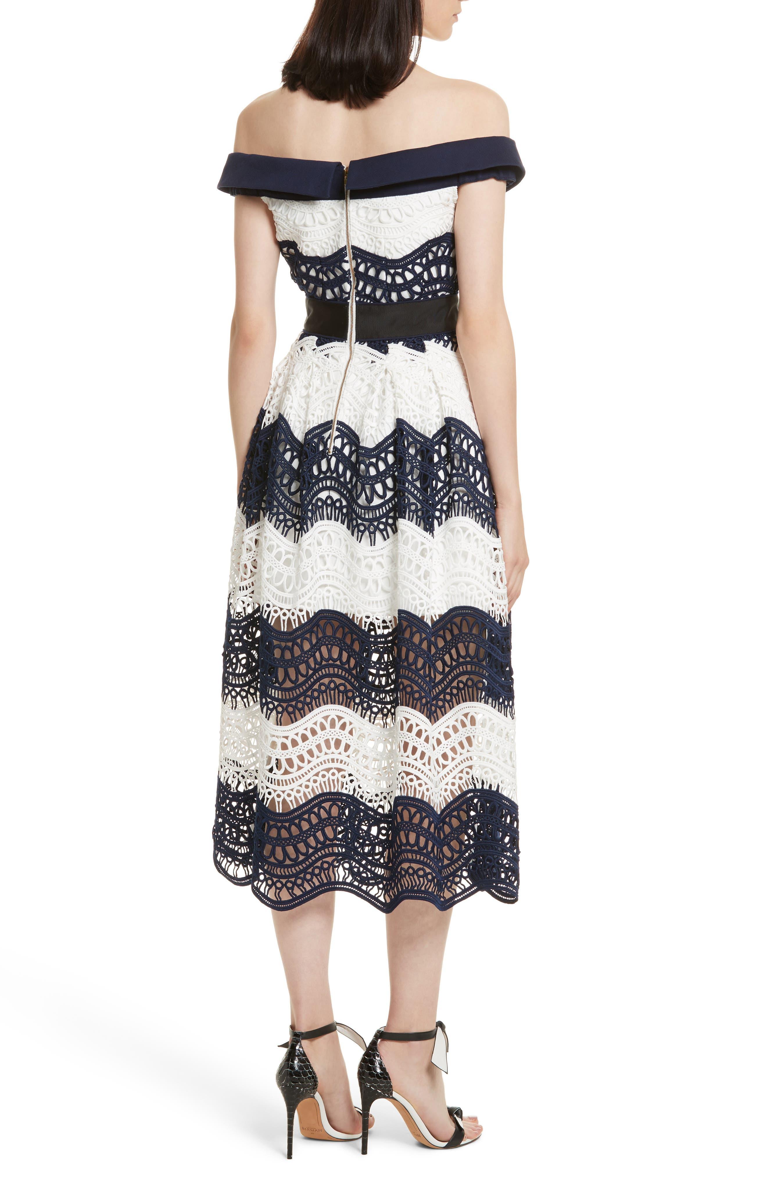 Wave Lace Off the Shoulder Midi Dress,                             Alternate thumbnail 2, color,                             100